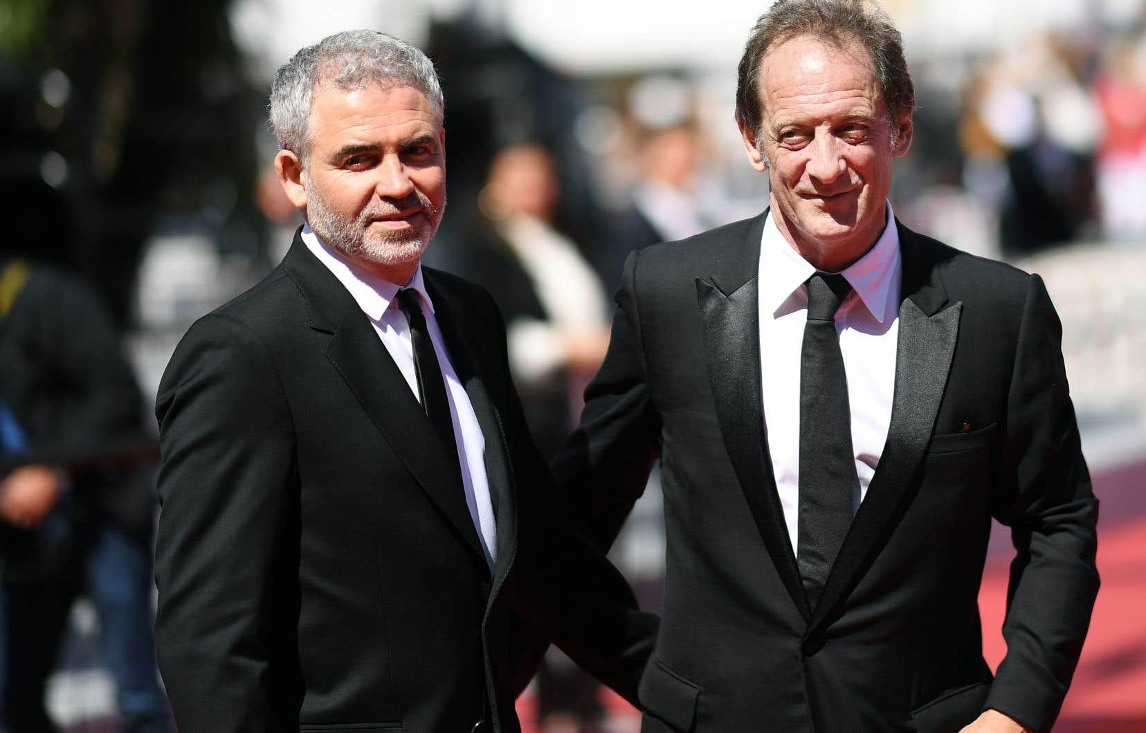 Le réalisateur Stéphane Brizé en compagnie de l'acteur Vincent Lindon avant la projection du film «En guerre», à Cannes, mardi