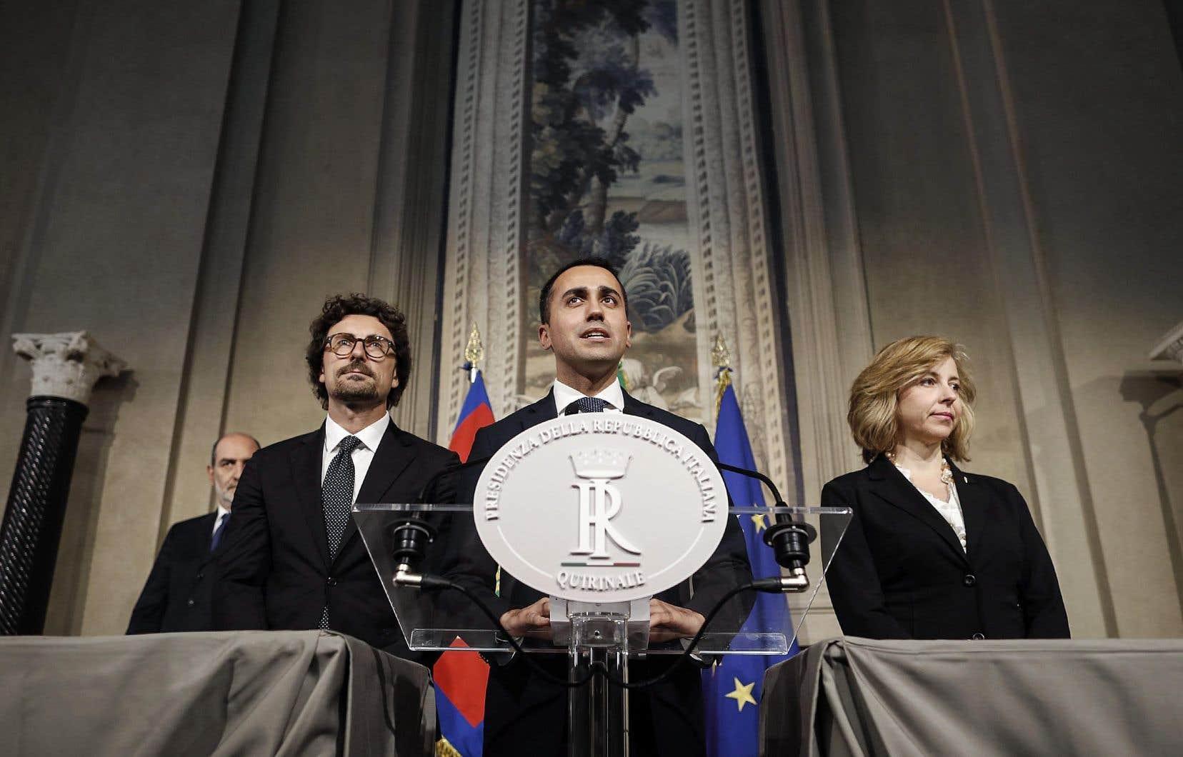 Les chefs de file du Mouvement 5 étoiles (M5S), le 14 mai