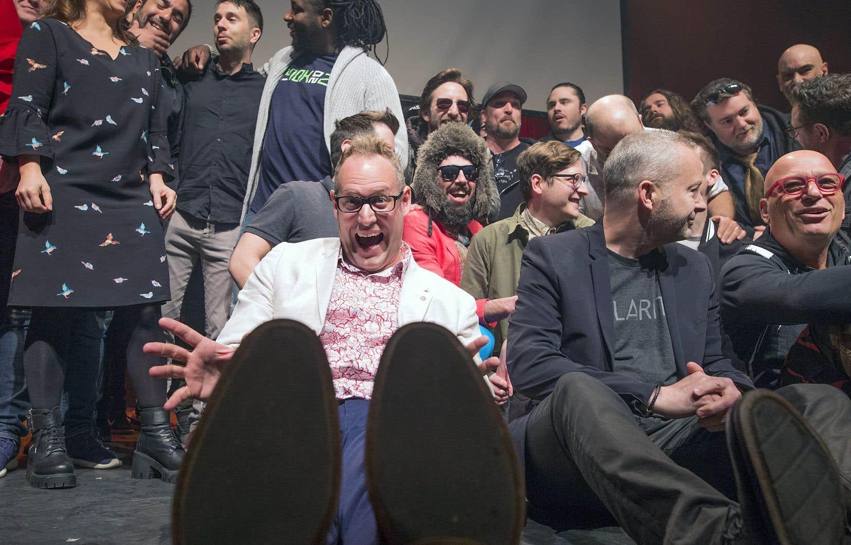 «Je m'appelle Patrick Rozon, mais vous pouvez m'appeler Patrick», avait blagué le porte-parole de l'événement, Patrick Rozon (au centre), mercredi, au lancement de la programmation du festival Juste pour rire, désirant garder une saine distance entre lui et l'entrepreneur déchu.