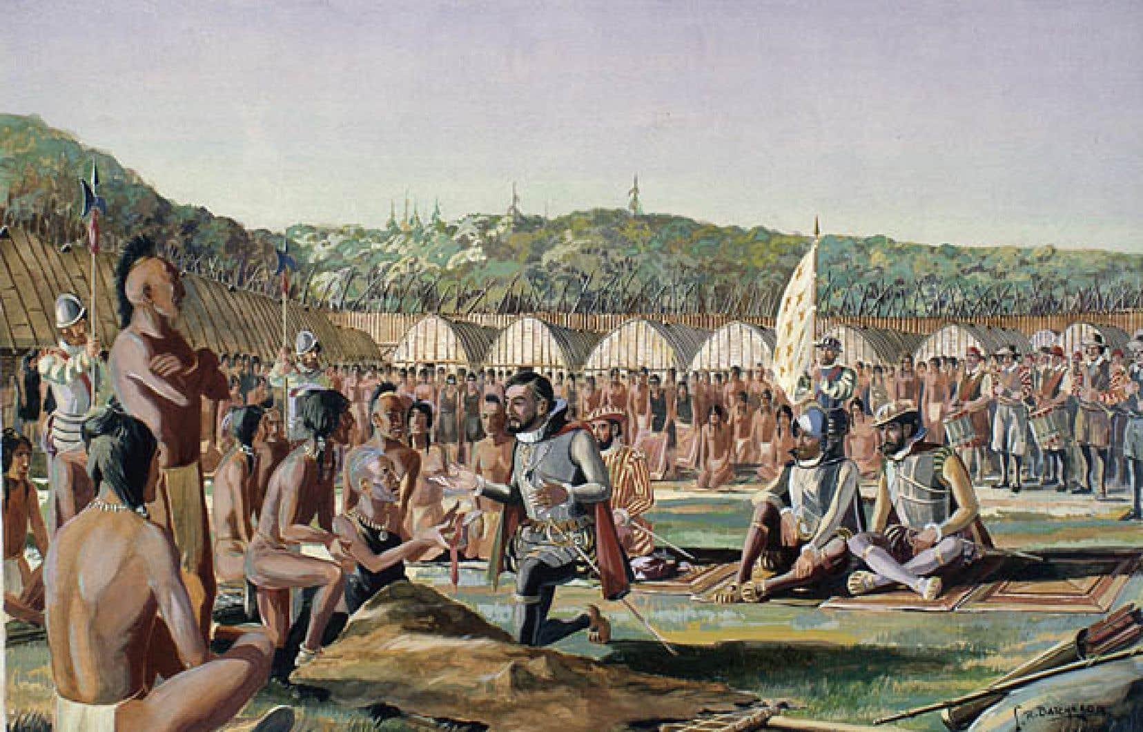 L'aquarelle réalisée par Lawrence R. Batchelor représente Jacques Cartier visitant le village d'Hochelaga en 1535.