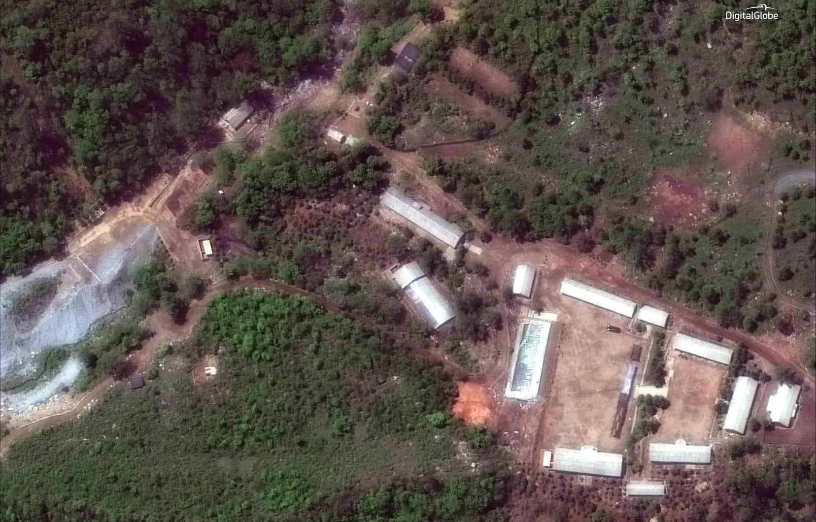 Une image satellite dusite de tests de Punggye-ri, mercredi, en Corée du Nord.