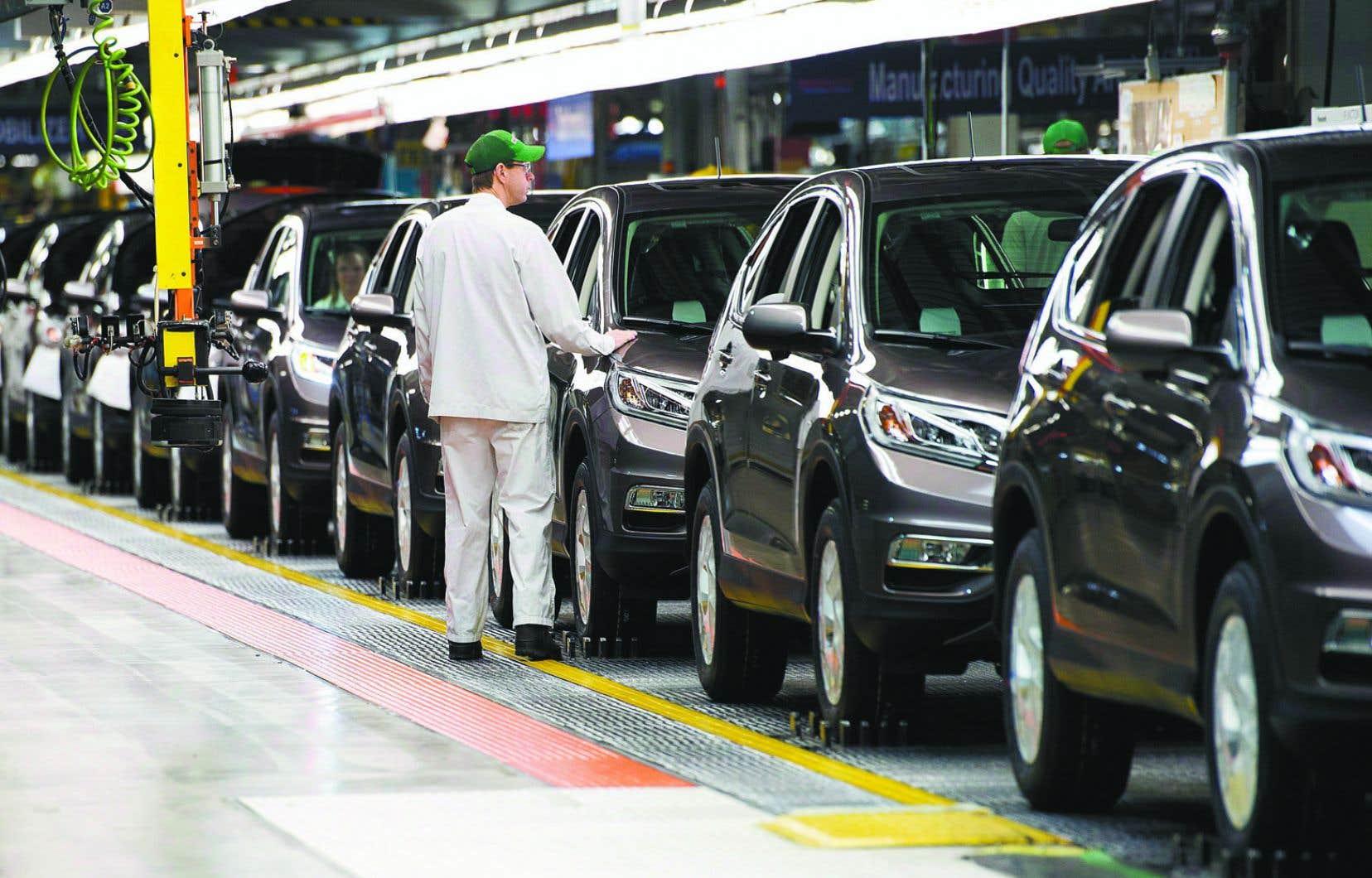 Environ 95% des véhicules construits au Canada sont exportés aux États-Unis.