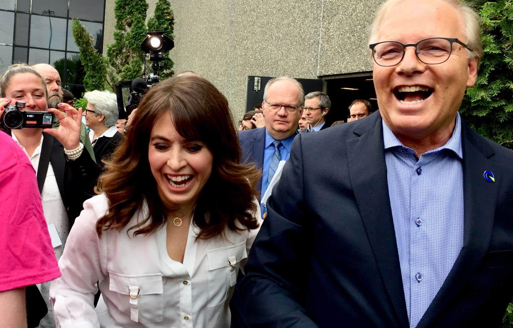 La vice-chef et le chef du Parti québécois, Véronique Hivon et Jean-François Lisée, au terme du congrès national du parti, dimanche à Drummondville