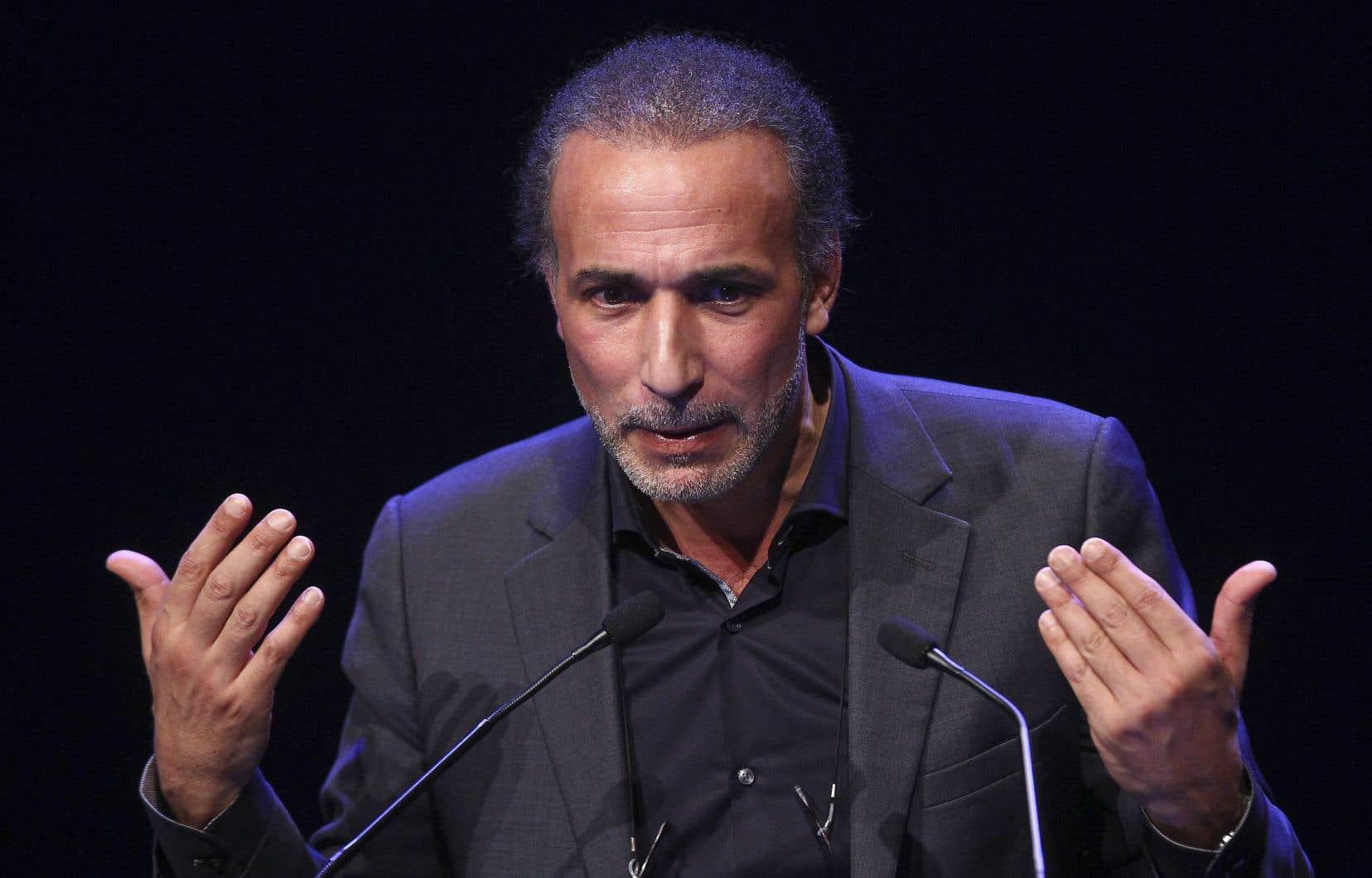 L'intellectuel Tariq Ramadan, lors d'un rassemblement à Lille en novembre 2017