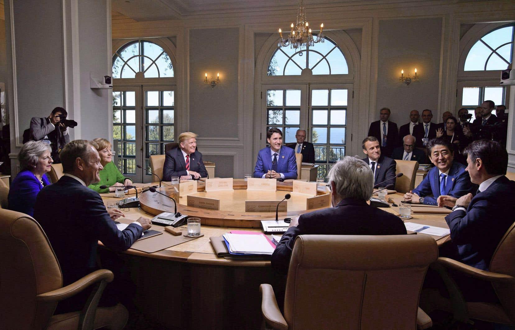 Les chefs des États membres du G7 ont pris part à une première session de travail vendredi après-midi au Manoir Richelieu, à La Malbaie.