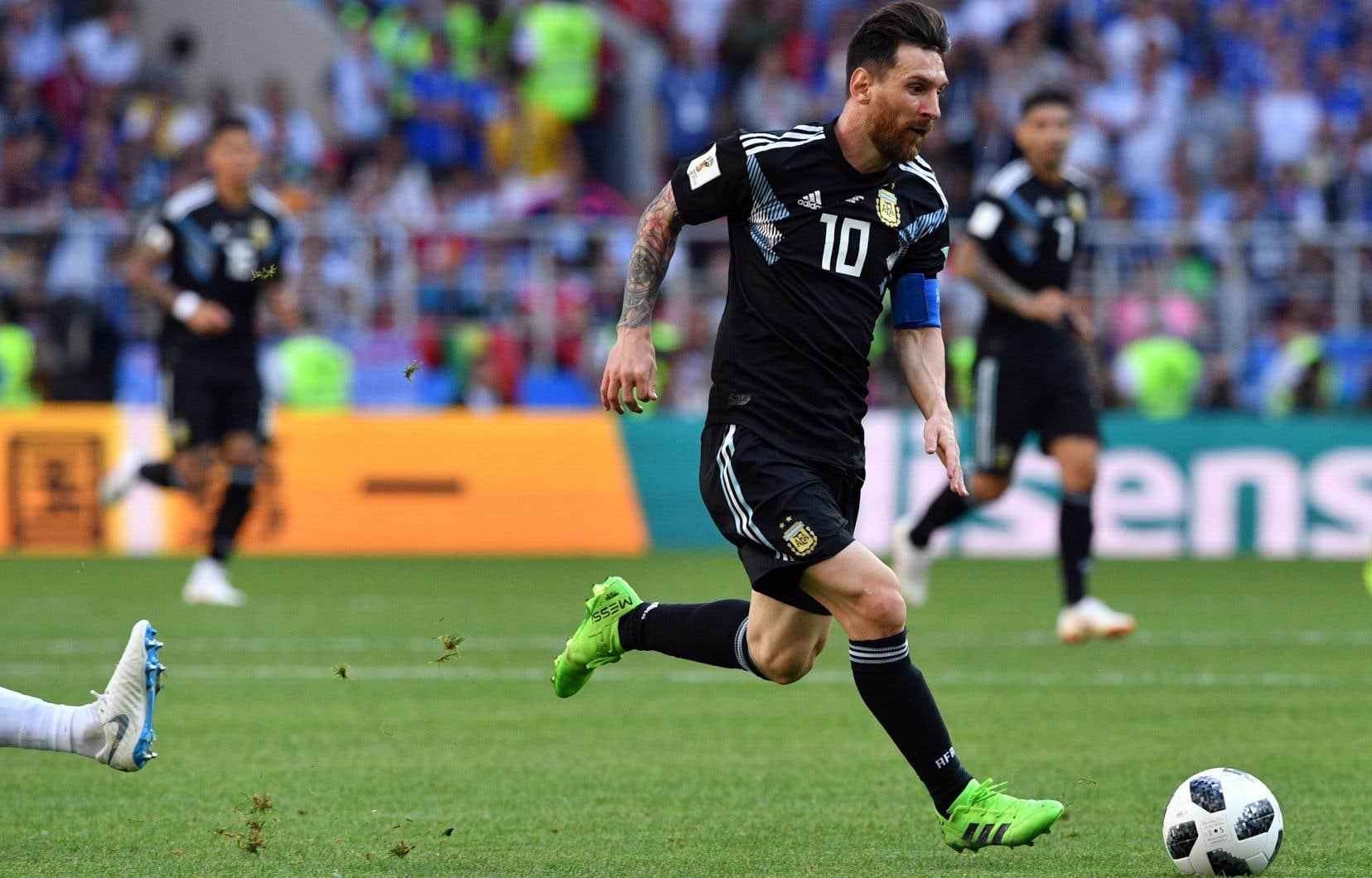 Lionel Messi a vu sa tentative repoussée par Hannes Halldorsson, le gardien islandais, à la 64e minute de la rencontre face à l'Islande.