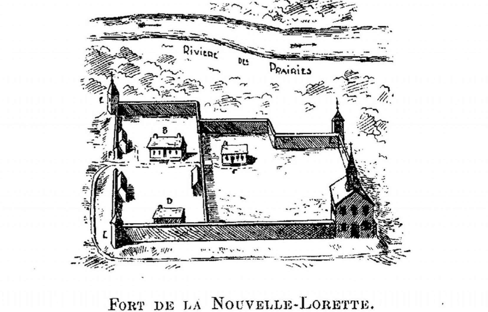 Dessin du fort de la Nouvelle-Lorette, réalisé par Charles Beaubien. On ignorait jusqu'à tout récemment où se trouvait avec précision ce fort important dans l'histoire de Montréal.
