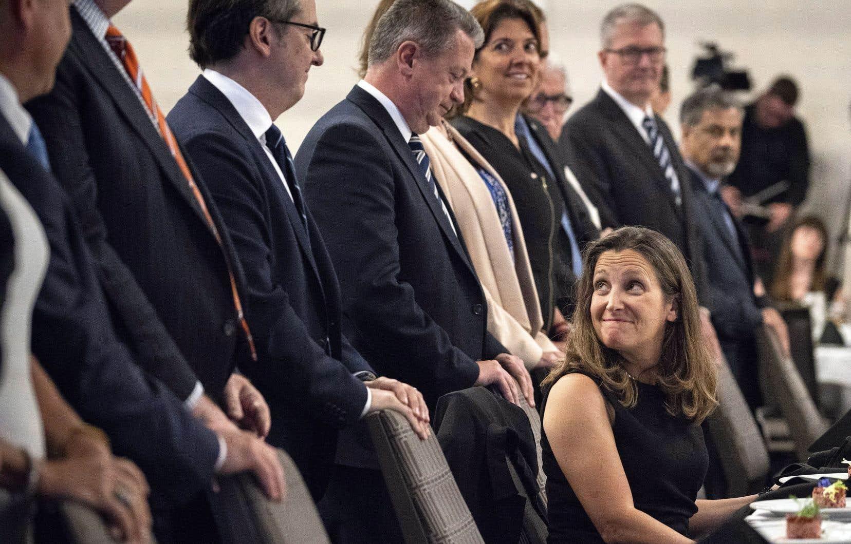 La ministre des Affaires étrangères canadienne, Chrystia Freeland,était de passage devant le Conseil des relations internationales de Montréal (CORIM) mercredi.