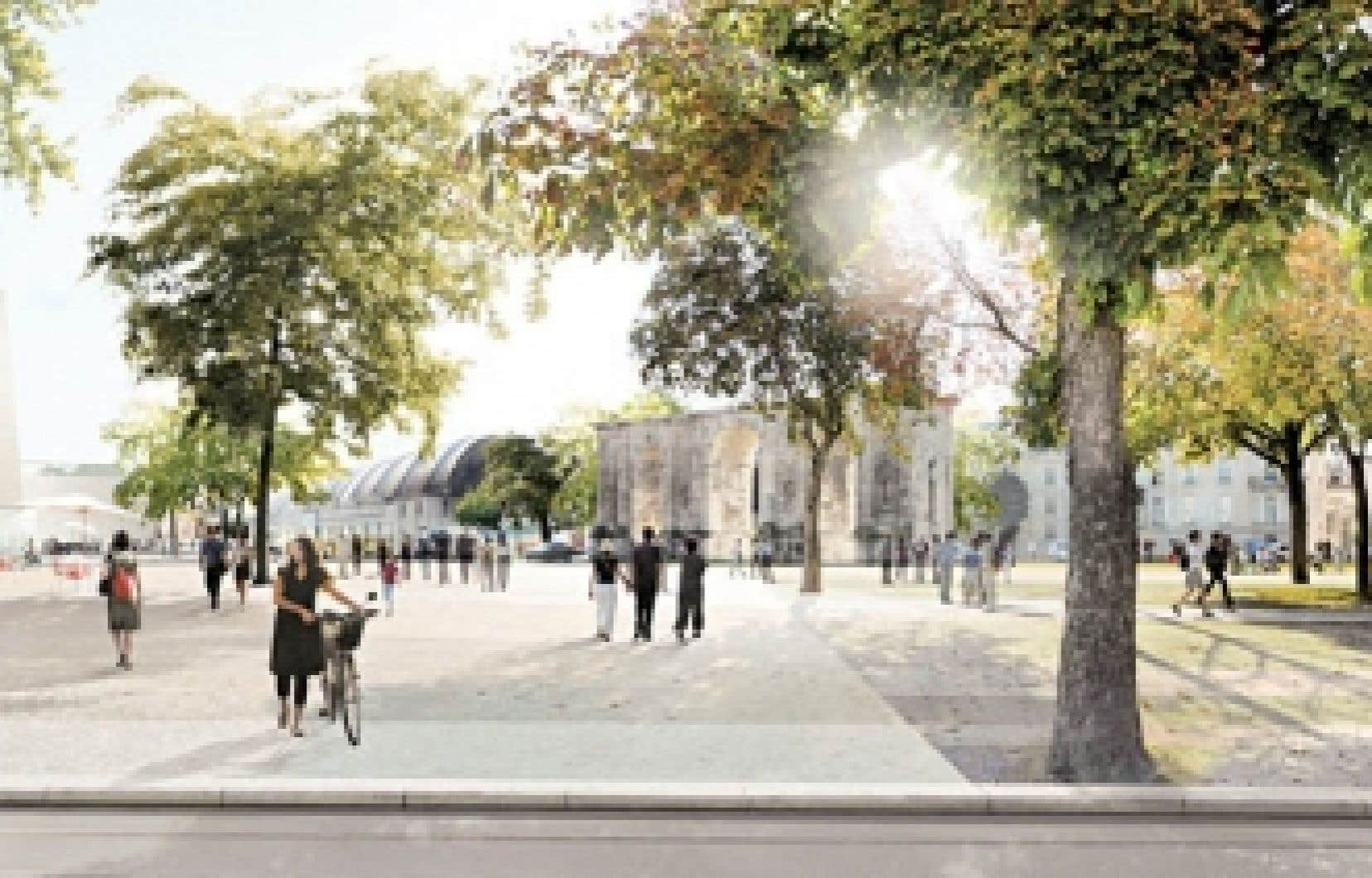 Vue prospective tirée des propositions de revitalisation du centre-ville de Reims d'une des équipes d'architectes (l'équipe Devillers); on reconnaît au fond la porte de Mars, un vestige romain qui est un des grands emblèmes de la ville.