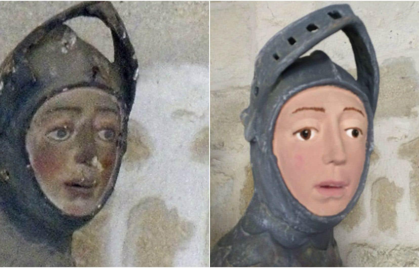 La sculpture, qui se trouve dans une église de Navarre, a été repeinte récemment par un artisan local.