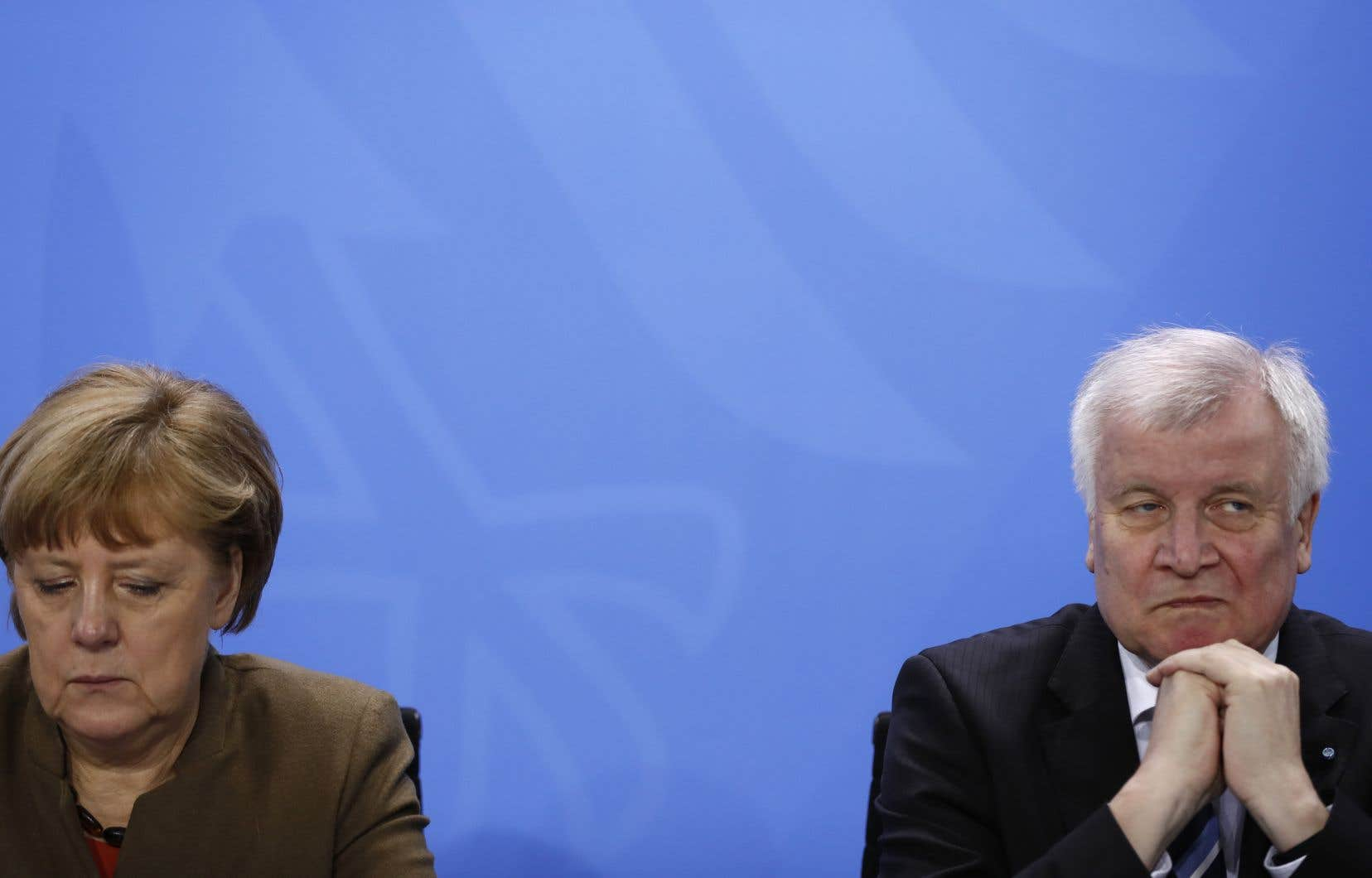 La chancelière allemande Angela Merkel et le ministre de l'Intérieur,Horst Seehofer