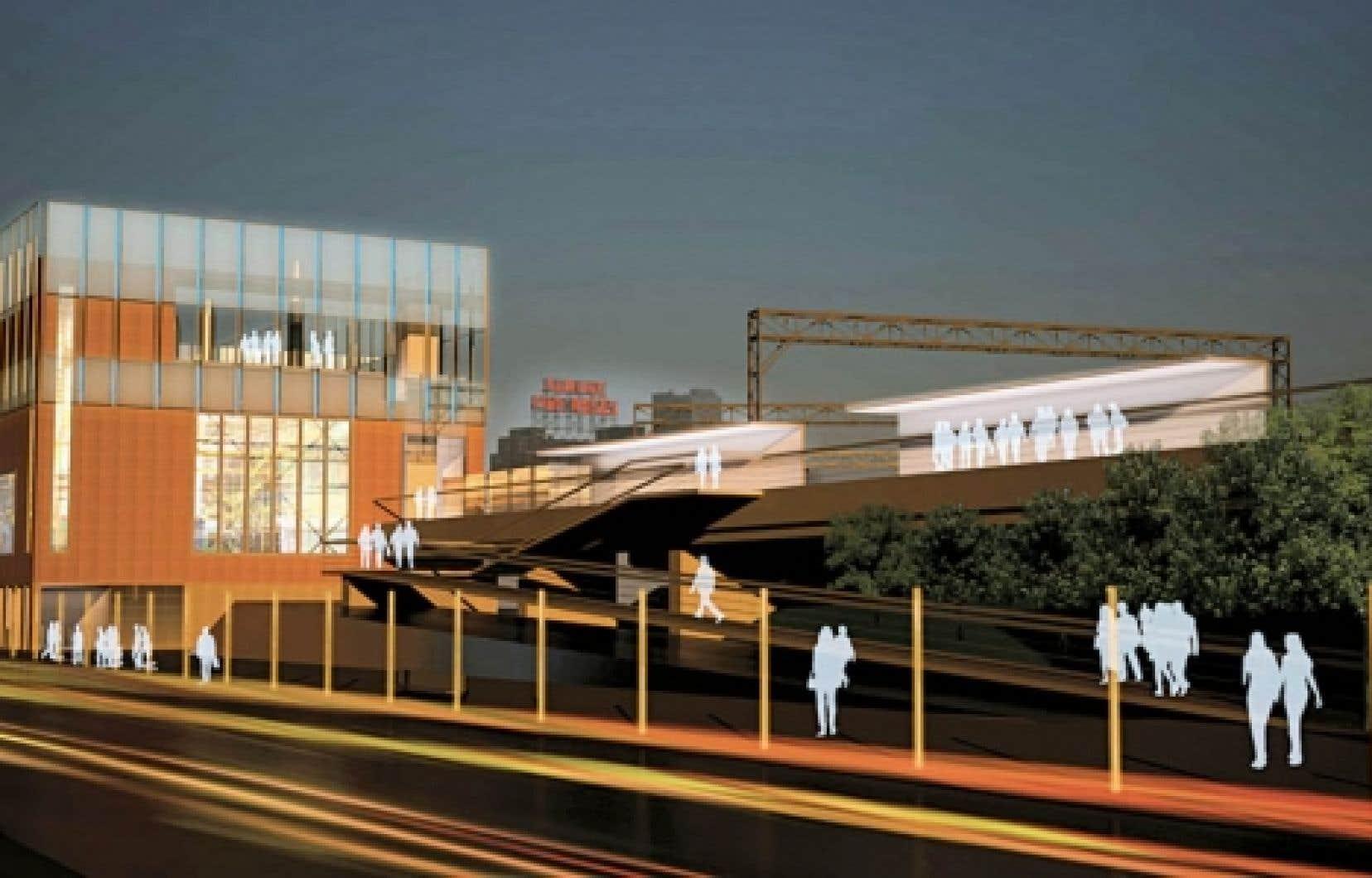 L'esquisse de potentiel établissant la vision du projet qui s'installera graduellement au rythme du quartier Bonaventure a pour objectif de valoriser la centrale comme icône urbaine en résonance avec le développement durable.
