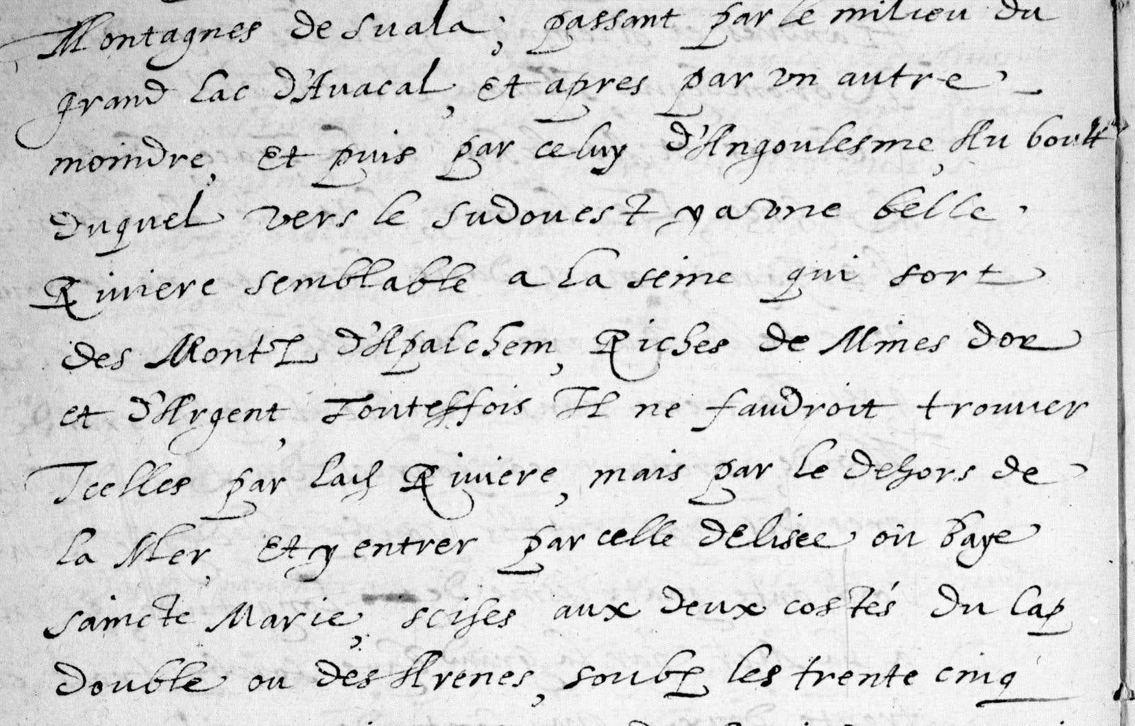 Une page de manuscrit attribuée à Samuel de Champlain