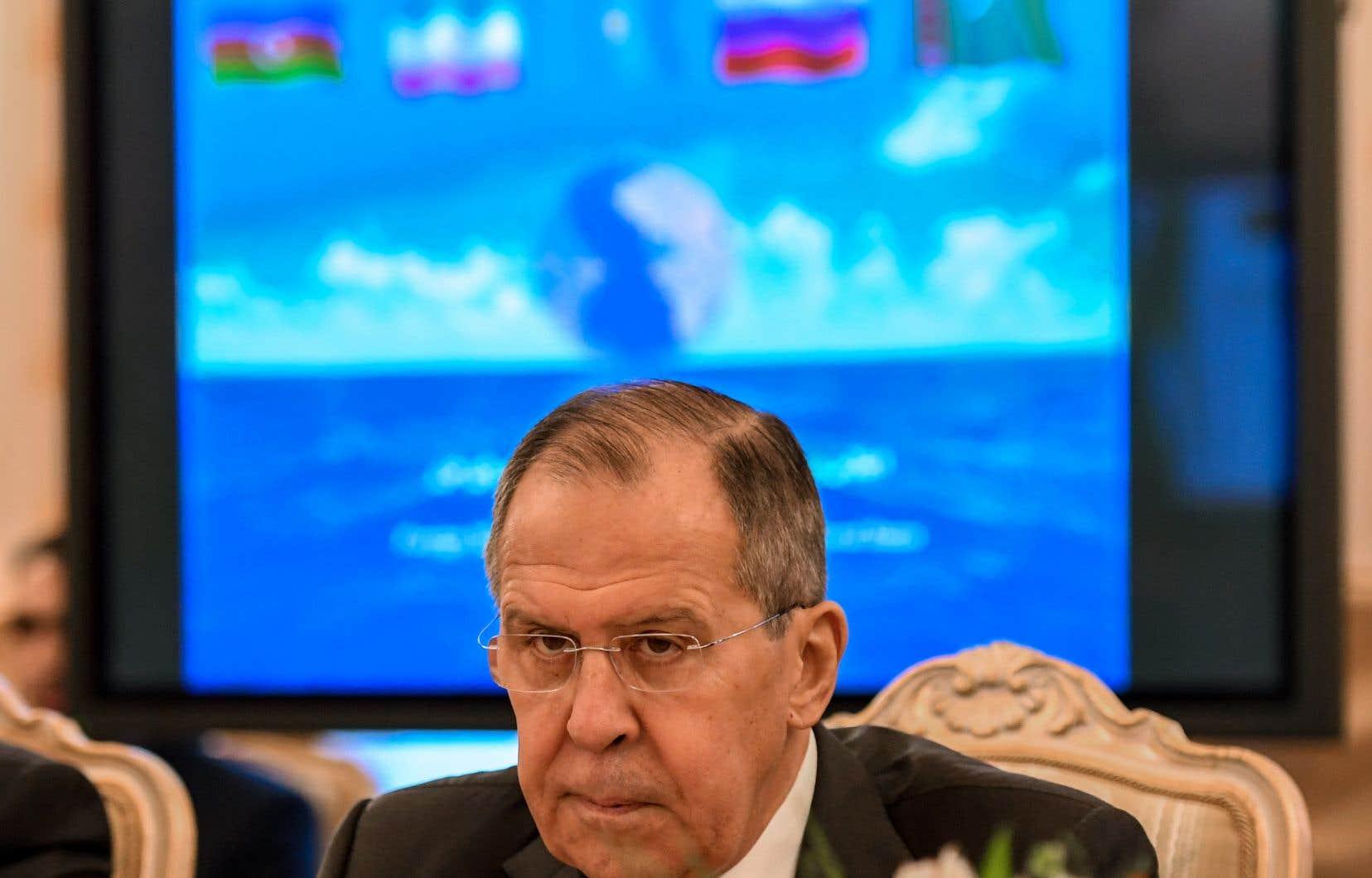 <p>Le ministre des Affaires étrangères russesSergei Lavrov lors d'une rencontre avec ses homologues de l'Azerbaïdjan, de l'Iran, du Kazakhstan et du Turkménistan en décembre 2017.</p>