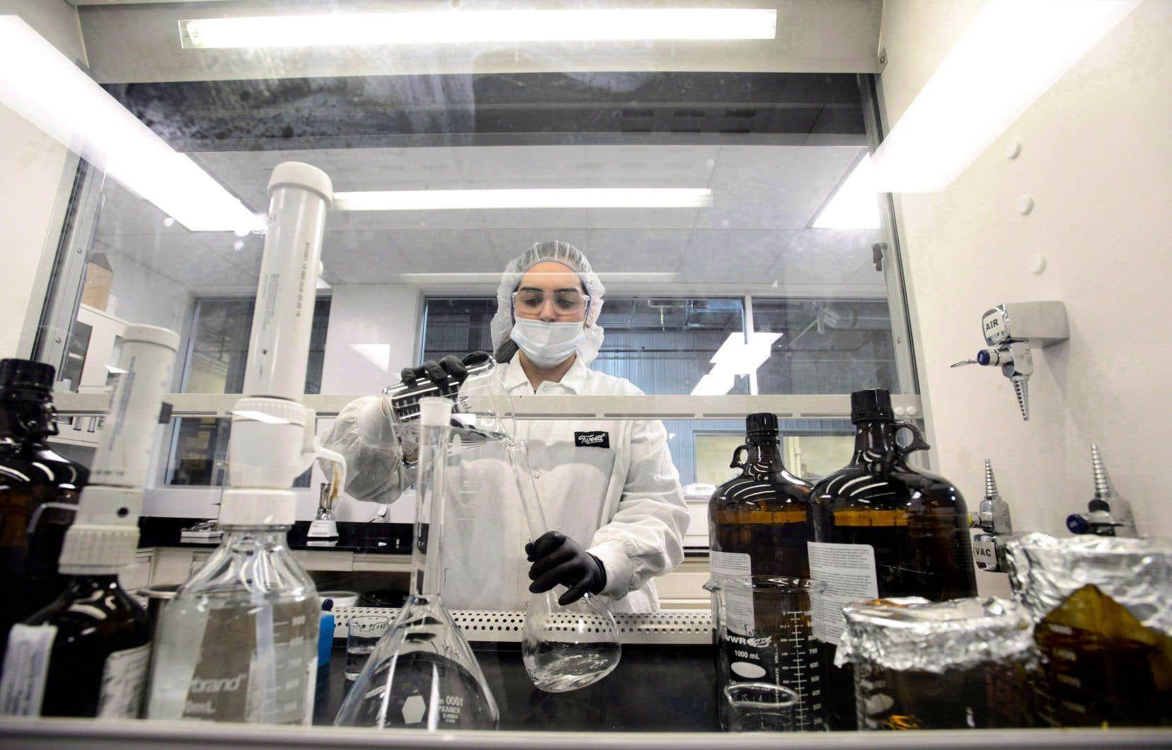 Une technicienne de laboratoire est au travail chez Canopy Growth.Le producteur de marijuana ontarien estime que ce soutien devrait l'aider à livrer une solide concurrence aux plus gros joueurs de la pharmacie et de la bière.