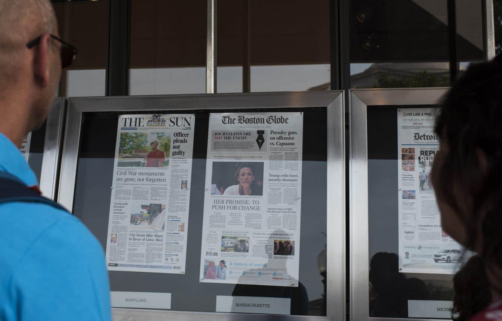<p>Du Maine à Hawaï, des quotidiens américains ontpubliéune série coordonnée d'éditoriaux qui défendent une presse libre et vigoureuse.</p>