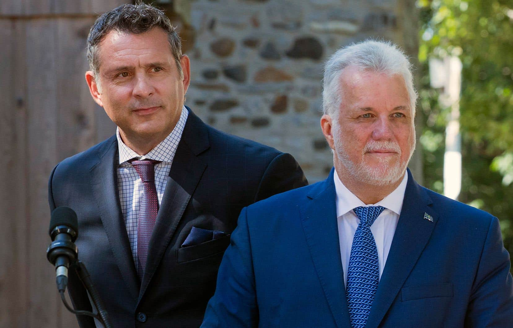 Le chef du PLQ, Philippe Couillard, et son candidat dans Marquette, Enrico Ciccone