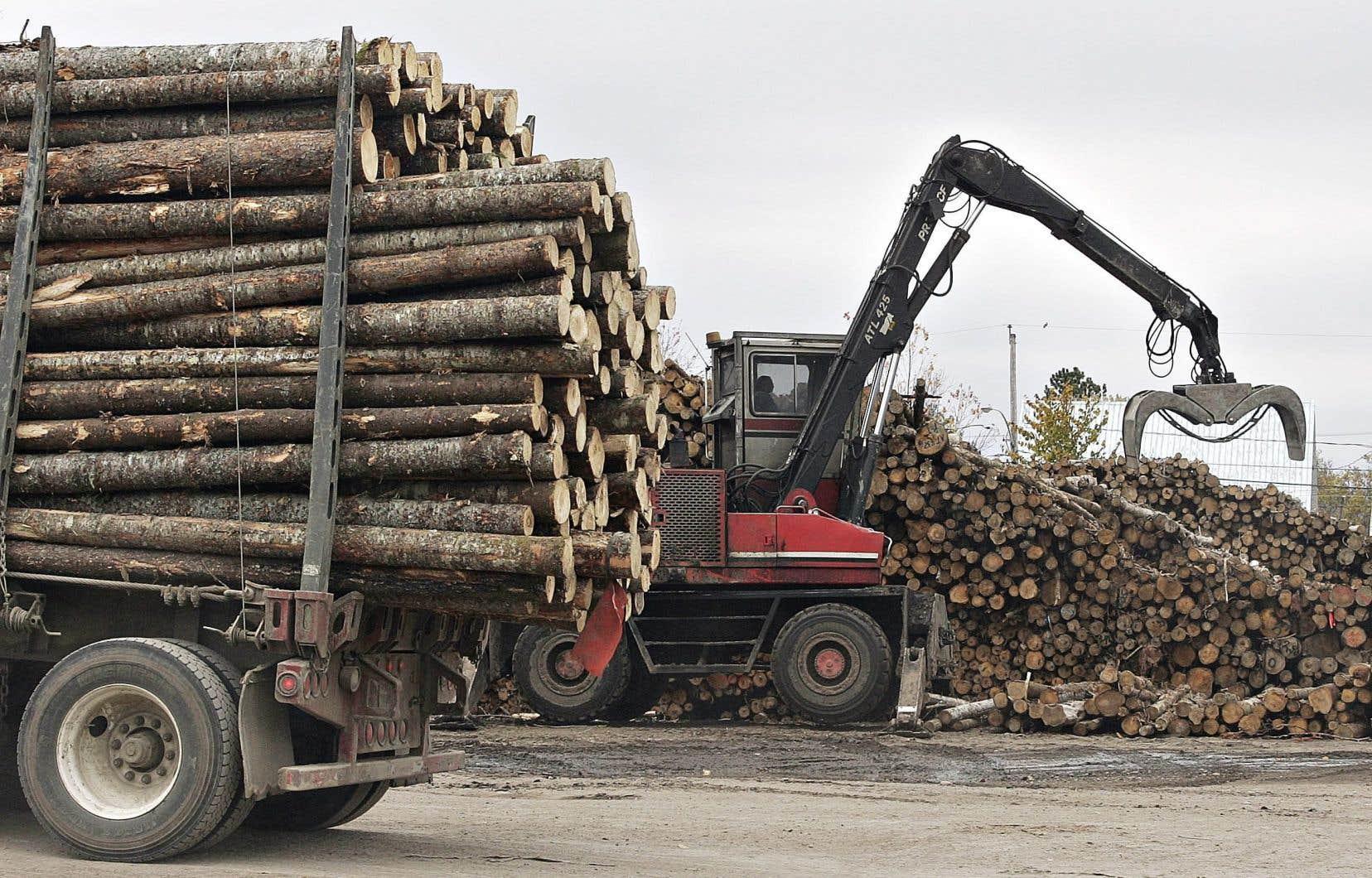 Les États-Unis ont connu une augmentation des investissements dans la capacité de traitement, mais ne fournissent tout de même qu'environ 34milliards des 48milliards de pieds-planche de bois qu'ils ont consommés en 2017.