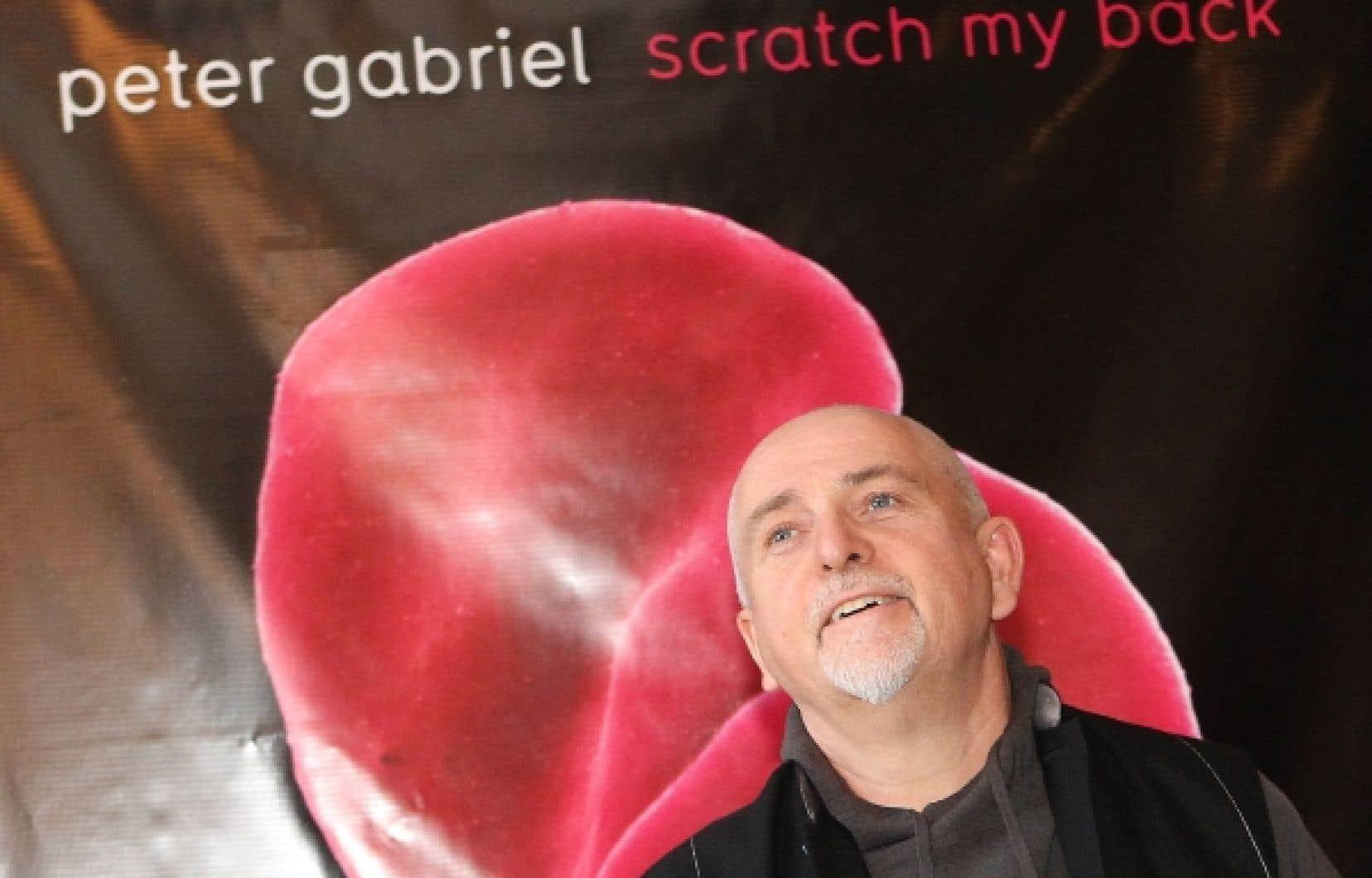 Peter Gabriel en conférence de presse, quelques heures avant son spectacle.