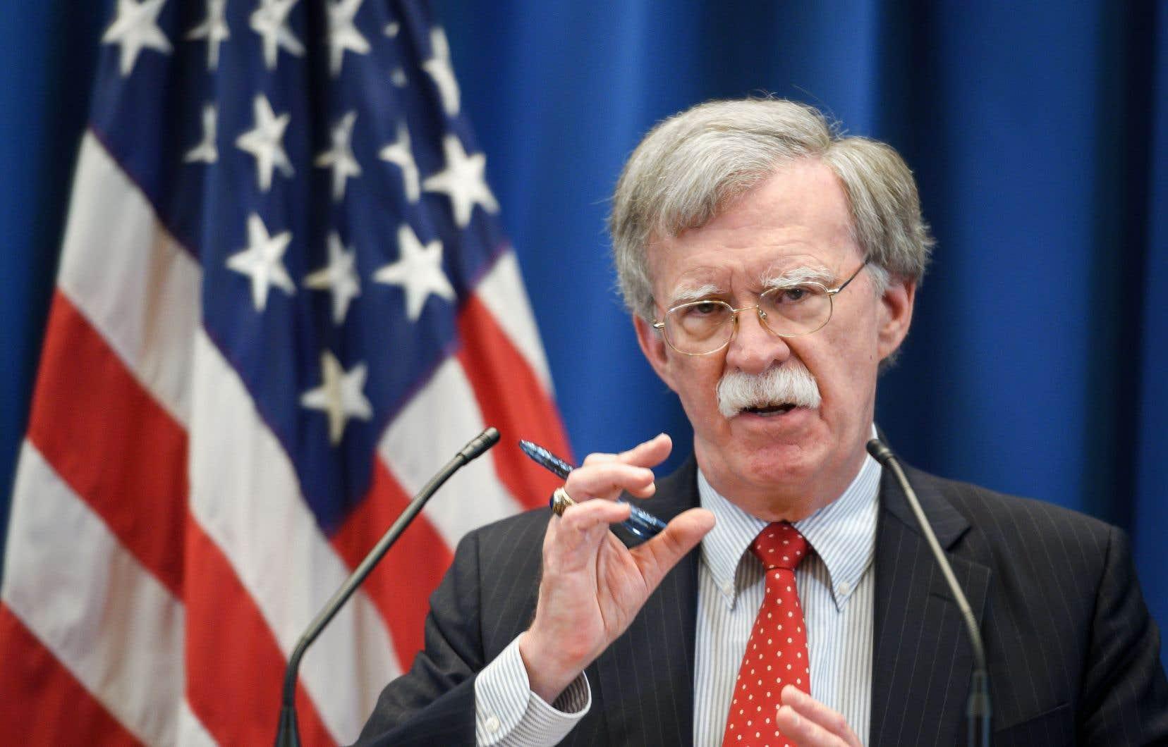 Le conseiller à la sécurité nationale américain, John Bolton,s'est exprimé devant les médias à l'issue d'une rencontre de cinq heures à Genève avec le secrétaire général du Conseil de sécurité russe, Nikolaï Patrouchev.
