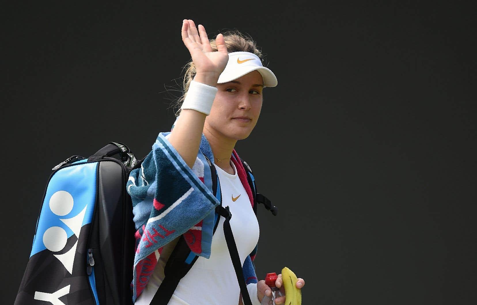 Eugenie Bouchard a quitté le terrain après sa défaite contre l'Australienne Ashleigh Barty, au tournoi de Wimbledon, le 5juillet dernier.