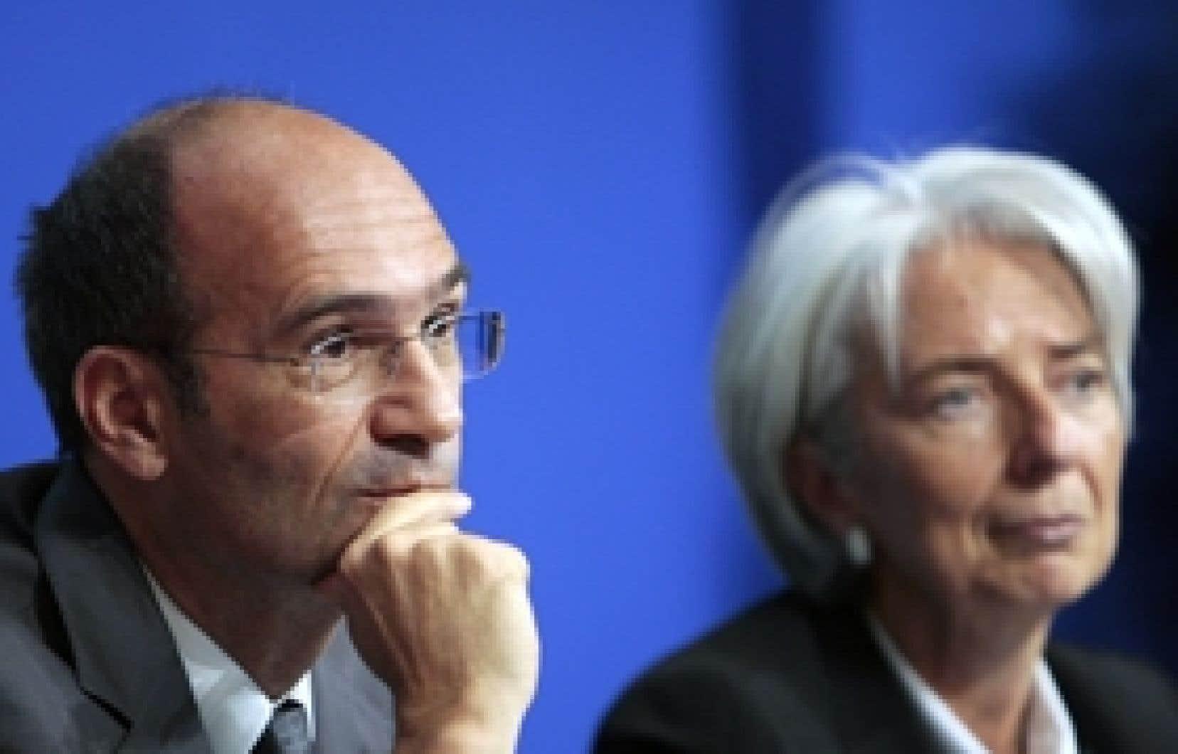 La ministre de l'Économie Christine Lagarde et le ministre du Budget Eric Woerth