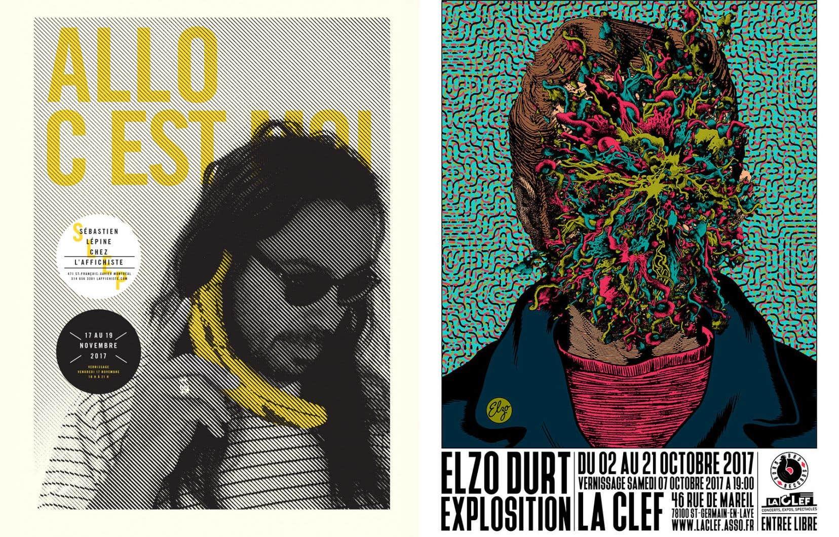 Le style du Québécois Sébastien Lépine (à gauche) se démarque par son emploi des tons pastel et des jeux de transparence, tandis que celui du Belge Elzo Durt (à droite) emprunte autant à l'Art déco qu'aux cultures psychédélique et punk.