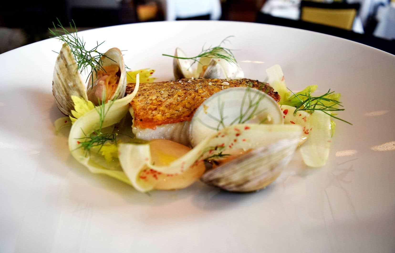 Déposer le poisson au centre de l'assiette, puis les rabioles et les palourdes autour.