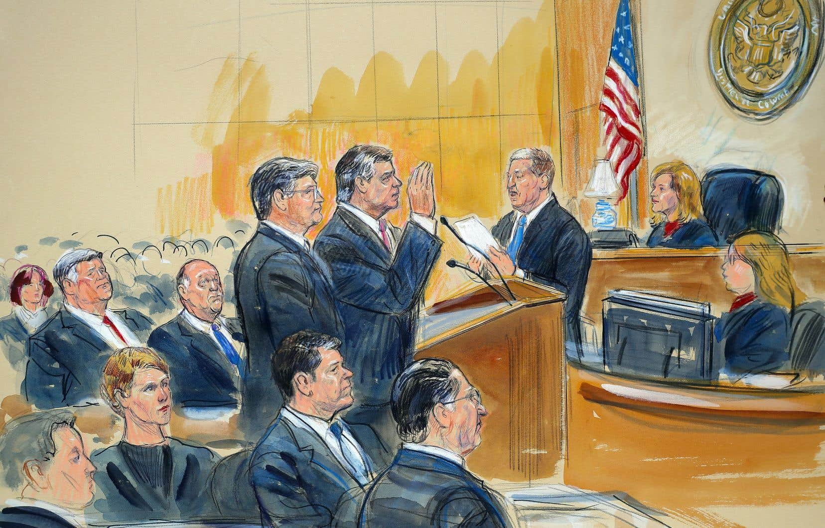 Un croquis de l'audience de Paul Manafort