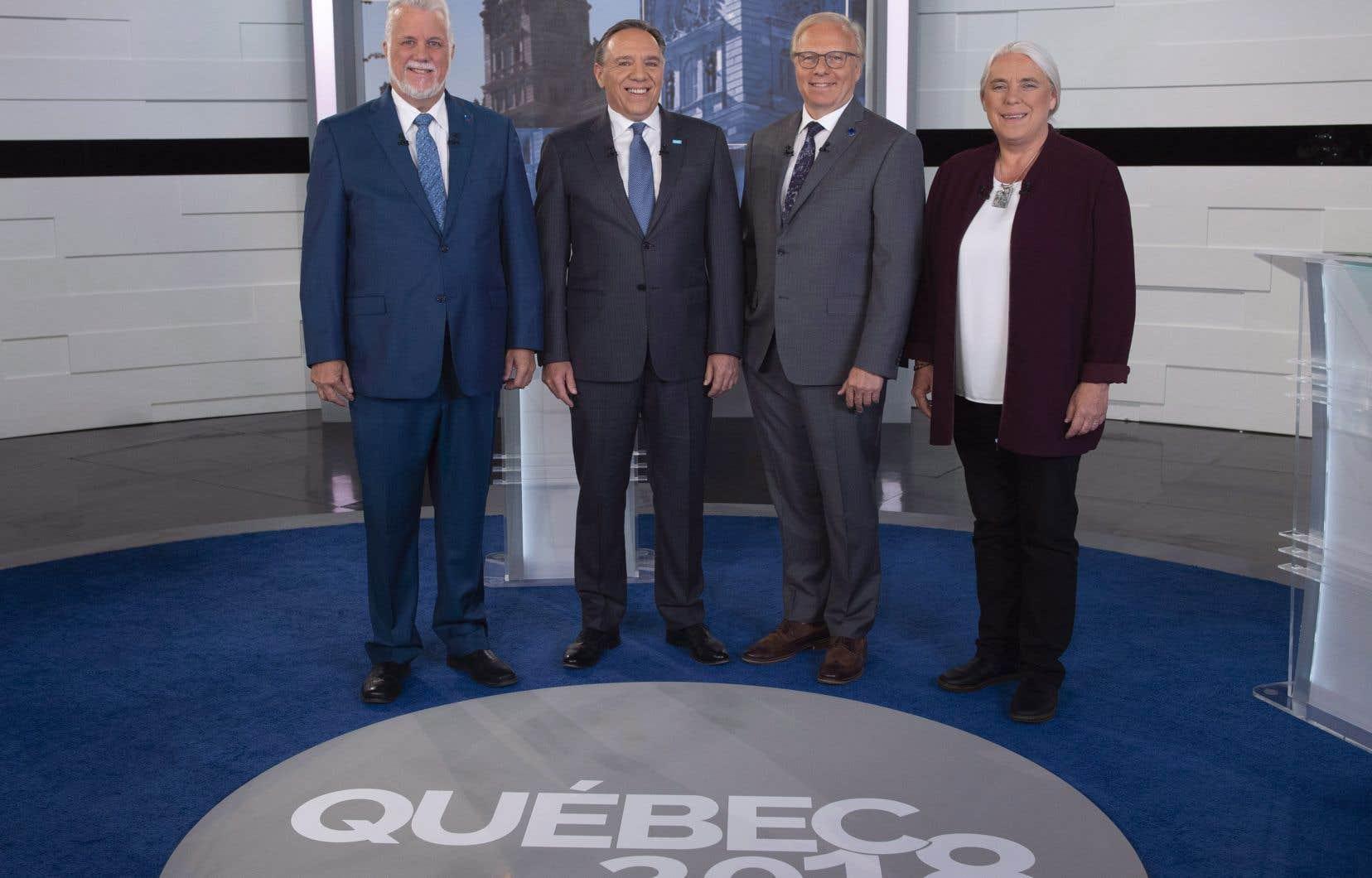 Philippe Couillard (PLQ), François Legault (CAQ), Jean-François Lisée (PQ) et Manon Massé (QS)