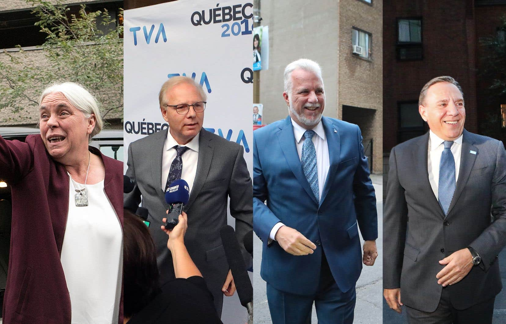 Les quatre chefs qui ont participé au débat: Manon Massé, Jean-François Lisée, Philippe Couillard et François Legault