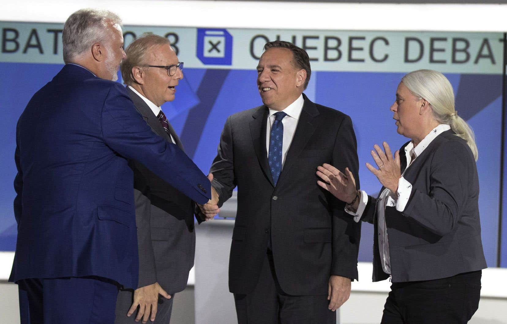 Philippe Couillard, François Legault, Jean-François Lisée et Manon Massé lors du débat des chefs en anglais