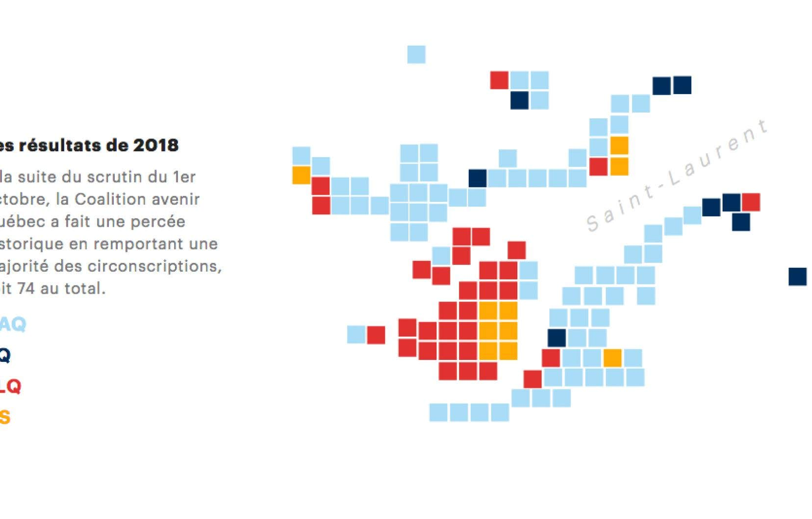 À la suite du scrutin du 1er octobre, la Coalition avenir Québec a fait une percée historique en remportant une majorité des circonscriptions, soit 74 au total.
