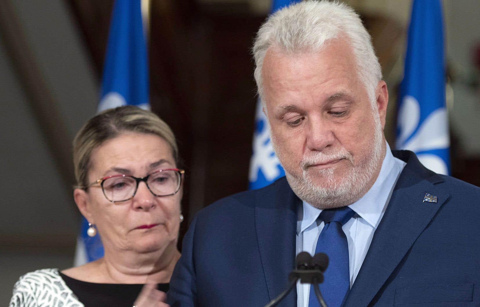 Le chef démissionnaire du Parti libéral du Québec, Philippe Couillard, était accompagné de son épouse, Suzanne Pilote.