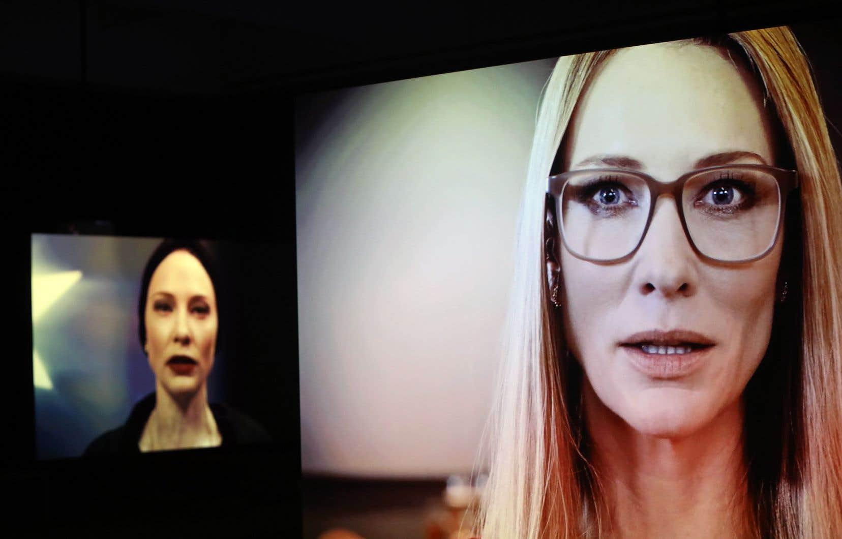 Sur fond de décors plus spectaculaires les uns que les autres, les textes sont dits en voix hors-champ ou directement face à la caméra par une Cate Blanchett aux mille visages et accents.