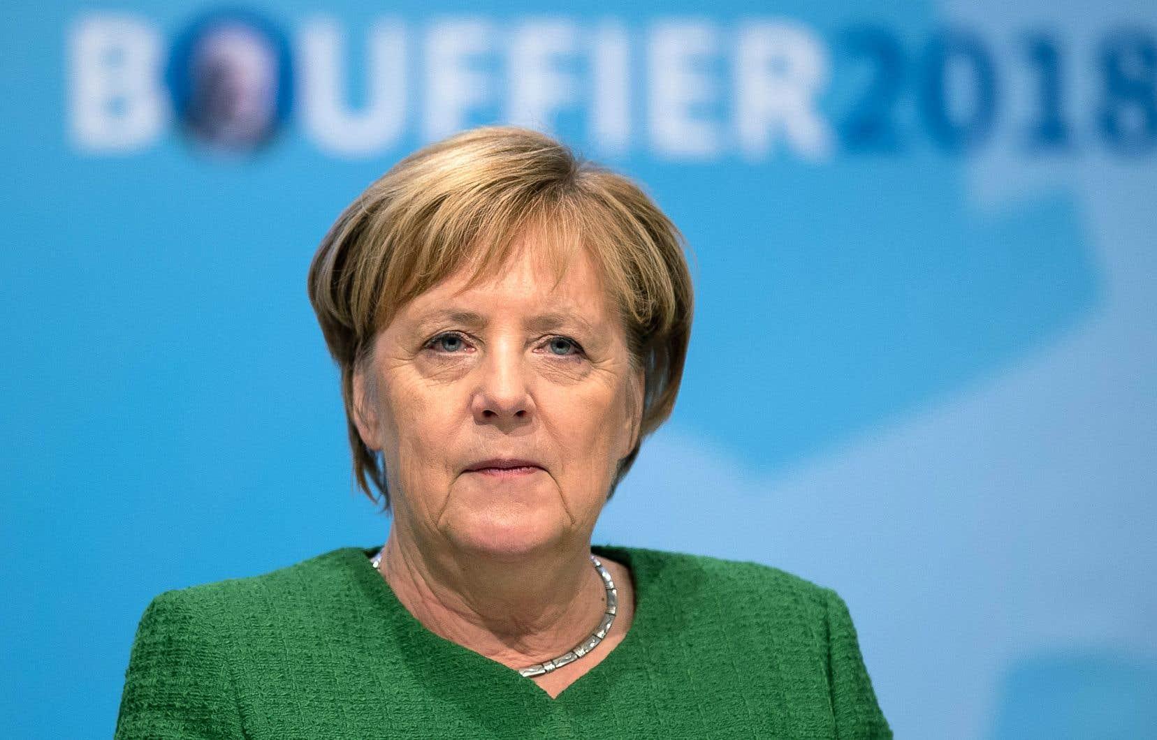 La chancelière allemande, Angela Merkel, lors d'un rassemblement partisan à Fulda, dans la région de Hesse, en Allemagne, le 25octobre dernier