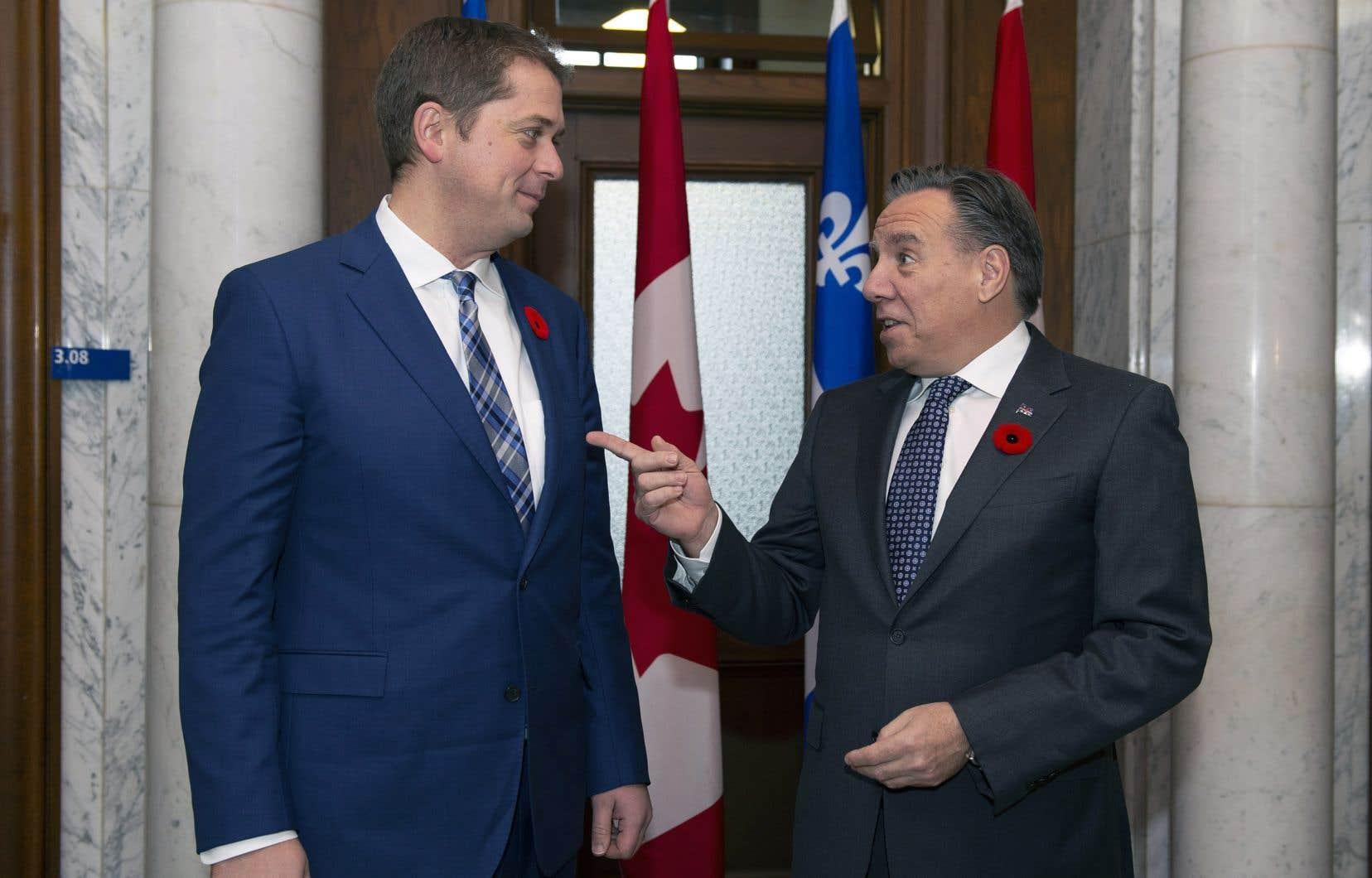 Le premier ministre François Legault a reçu le chef de l'opposition officielle à Ottawa, Andrew Scheer.