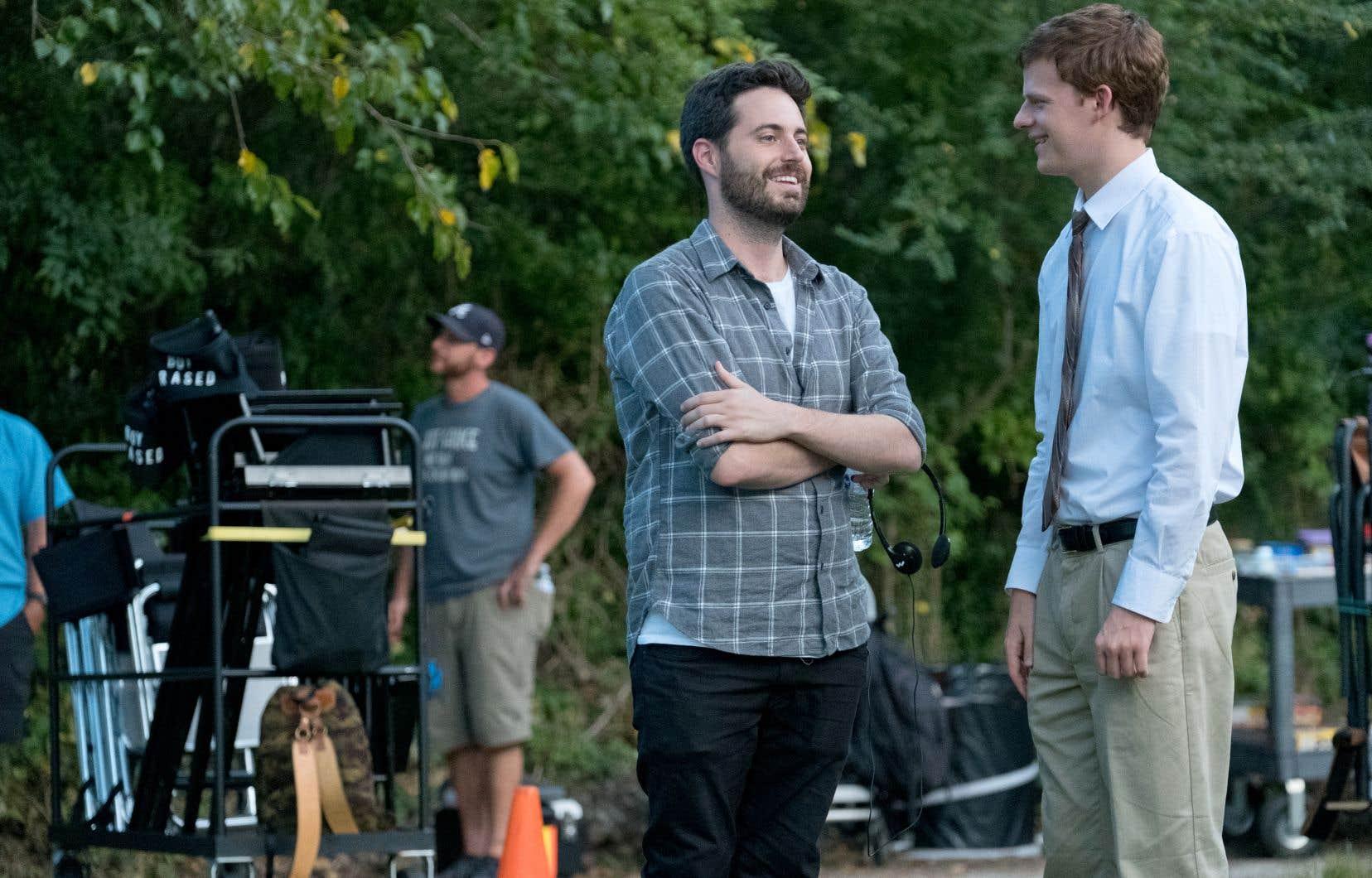 Garrard Conley (au centre) sur le plateau de tournage de «Garçon effacé», une adaptation de son livre