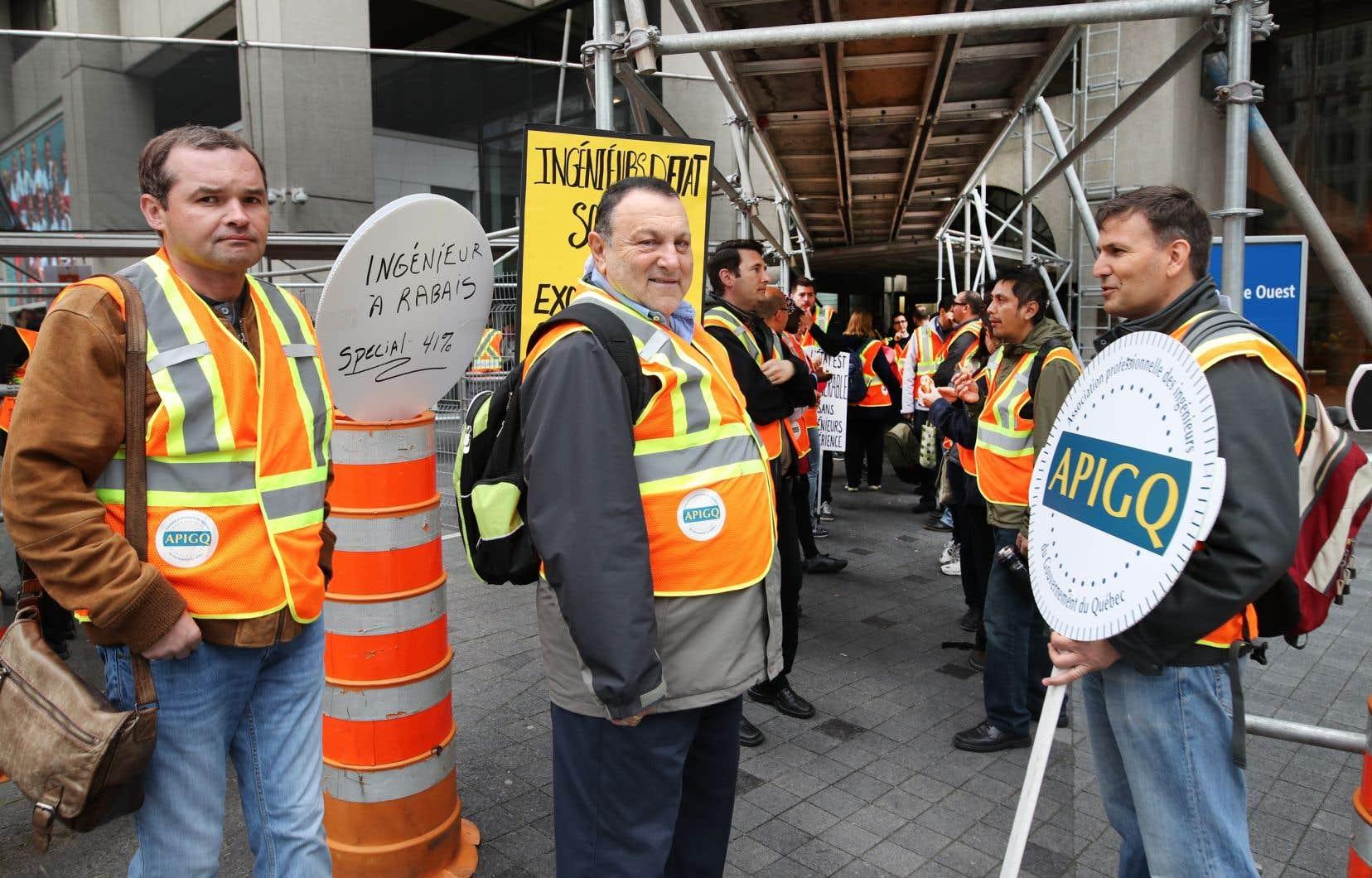 Manifestation des ingénieurs del'Association professionnelle des ingénieurs du gouvernement du Québec