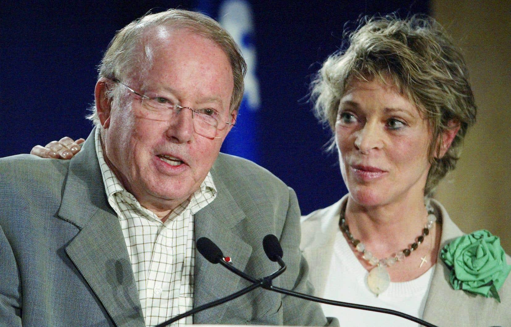 Avec son épouse, Chantal Renaud, lors du congrès national du PQ, en 2005