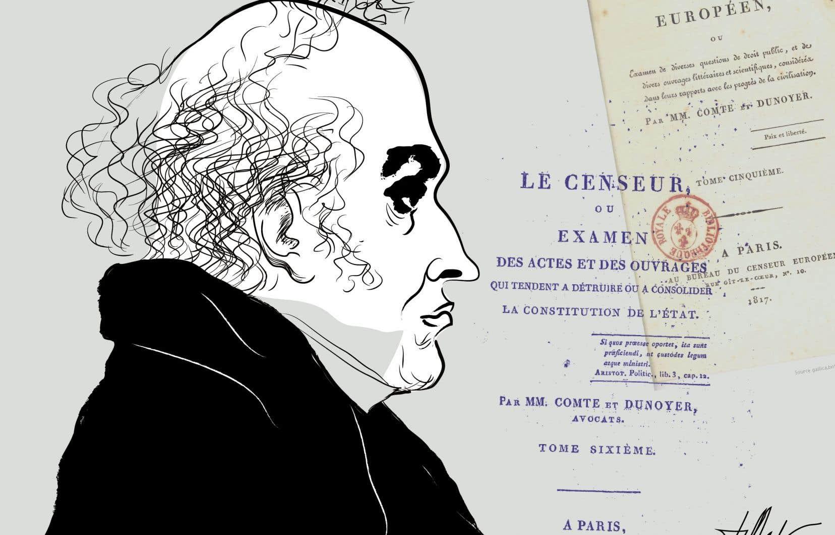 Dans un article paru en juillet 1814, Charles Comte explique pourquoi l'indépendance de la presse s'avère nécessaire pour éviter que les institutions représentatives glissent à la longue dans le despotisme.