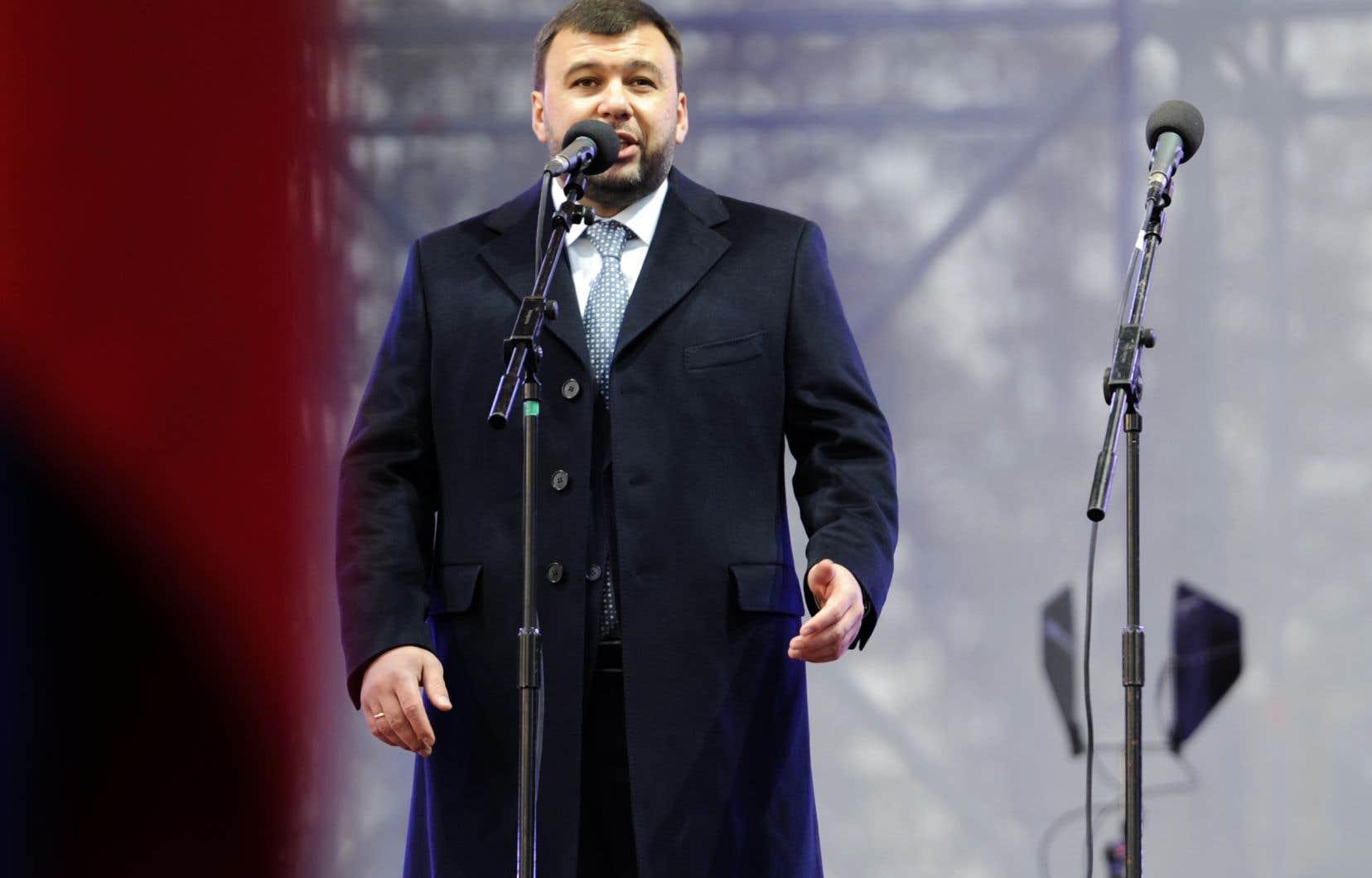 Le chef séparatiste Denis Pouchiline à Donetsk, le 9 novembre 2018