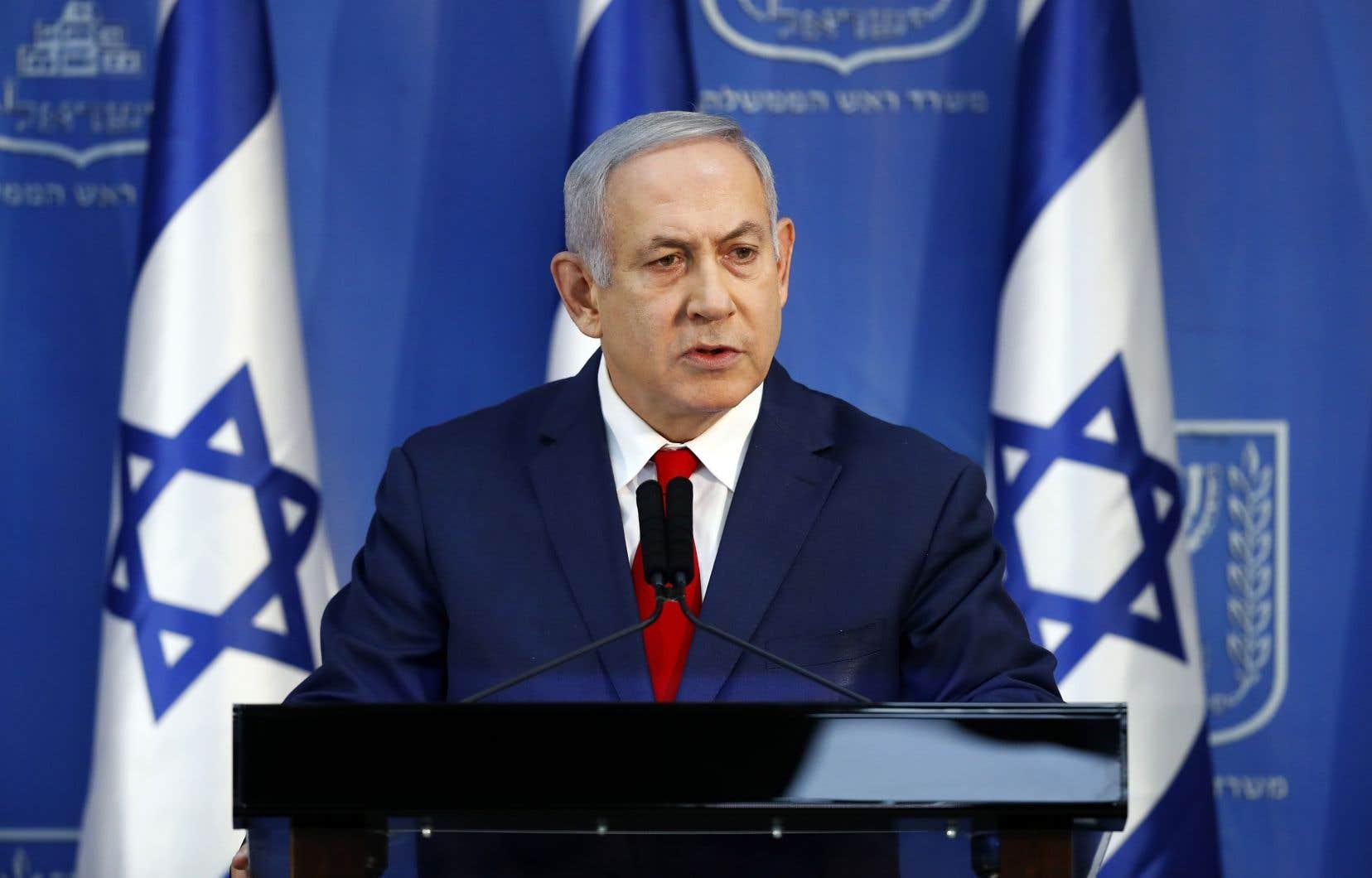 Le premier ministre d'Israël, Benjamin Nétanyahou, lors de son message à la Nation transmis à la télévision, dimanche, à Tel Aviv