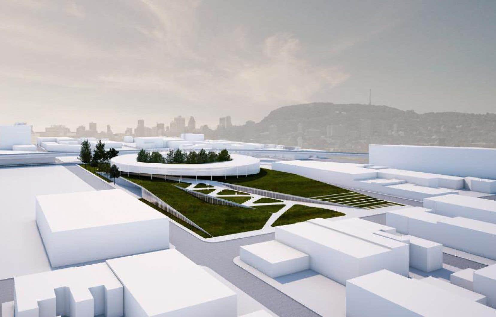 Le projet comprend un bâtiment administratif en forme d'anneau avec une cour intérieure pour les employés, un bâtiment souterrain de trois étages et une plateforme végétalisée accessible au public.