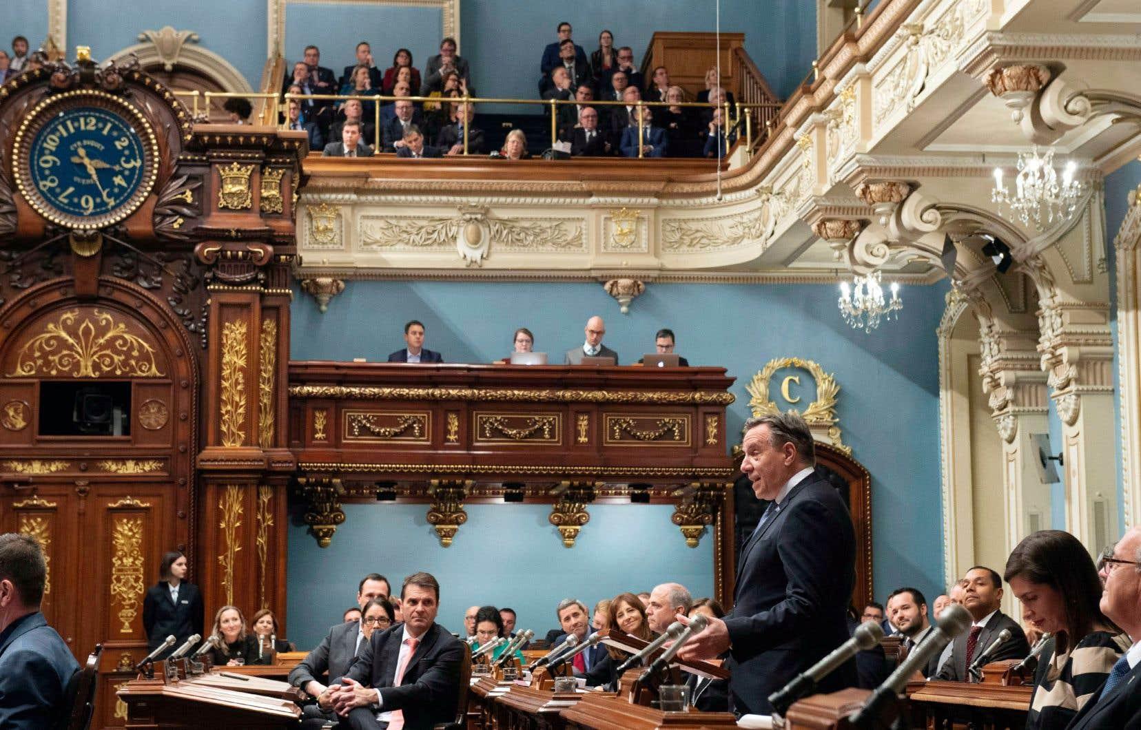 Le premier ministre François Legault livre son discours d'ouverture de la 42e législature devant l'Assemblée nationale.