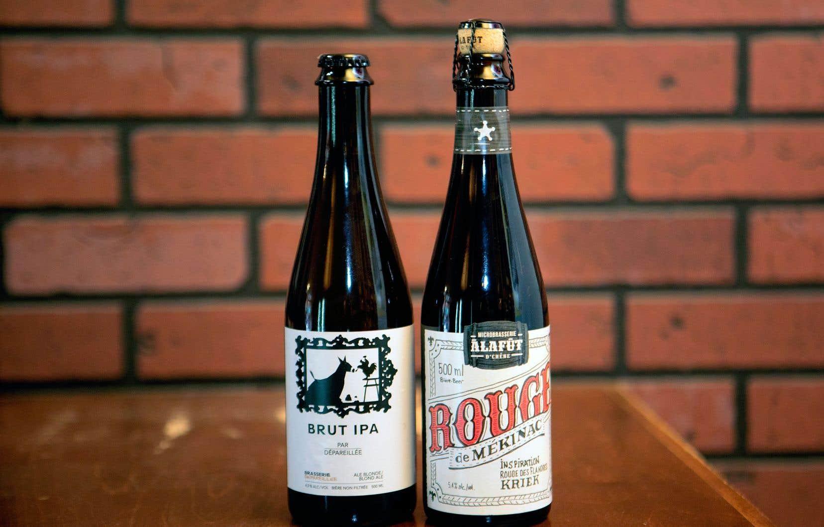 Deux bières respectivement créées par À la Fût de Saint-Tite et par la Brasserie Dépareillée de Yamachiche.
