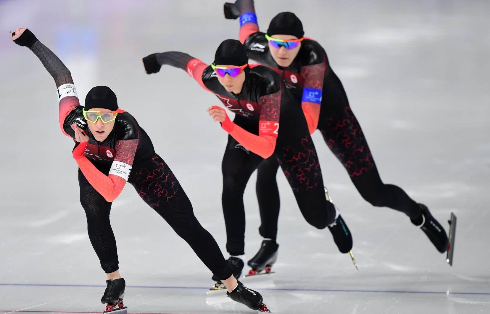 Ivanie Blondin, Keri Morrison et Isabelle Weidemann aux Jeux olympiques d'hiver de PyeongChang, le 21 février dernier.