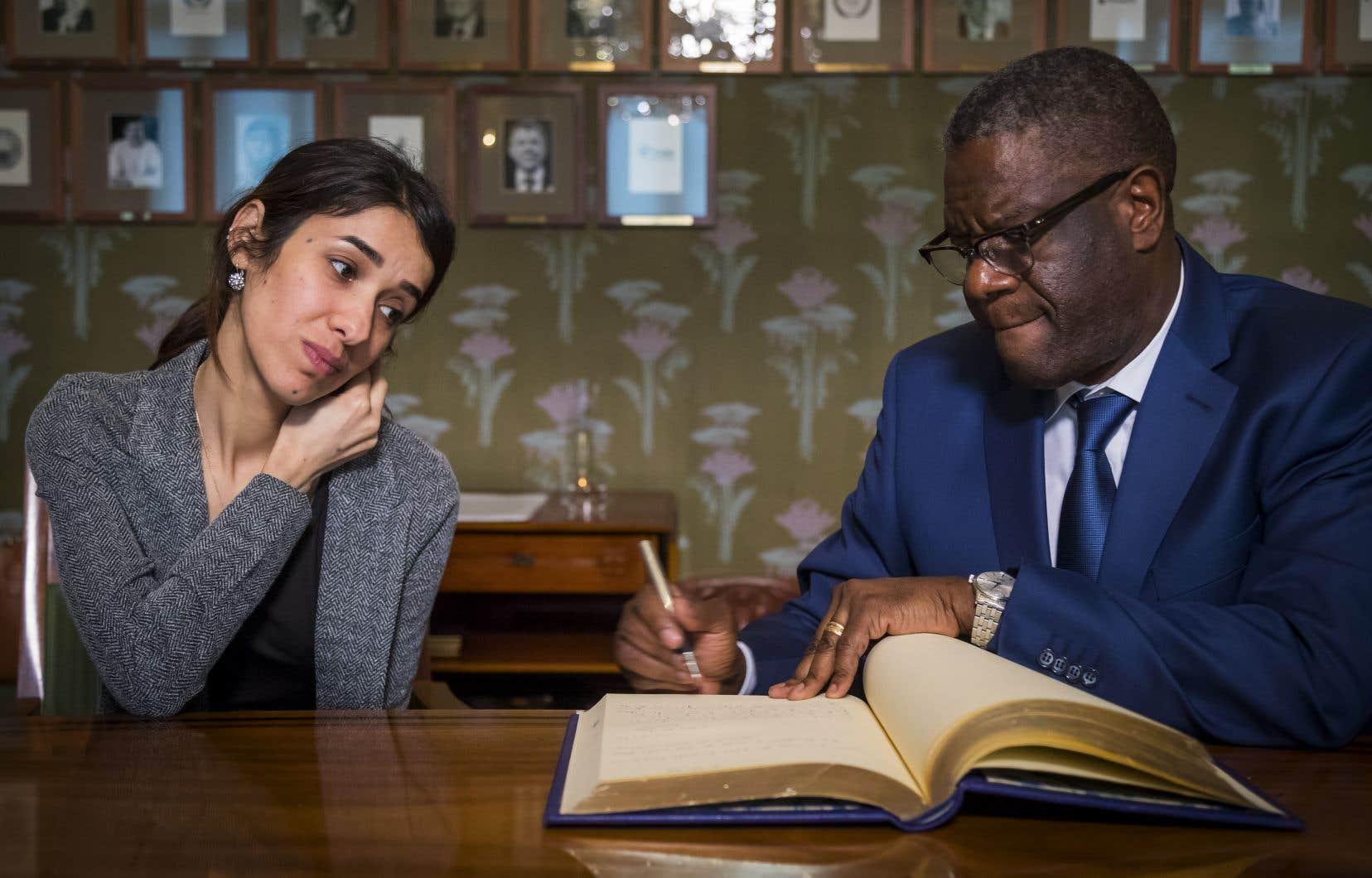Les lauréats du Nobel de la paix, le médecin congolais Denis Mukwege et la Yazidie Nadia Murad