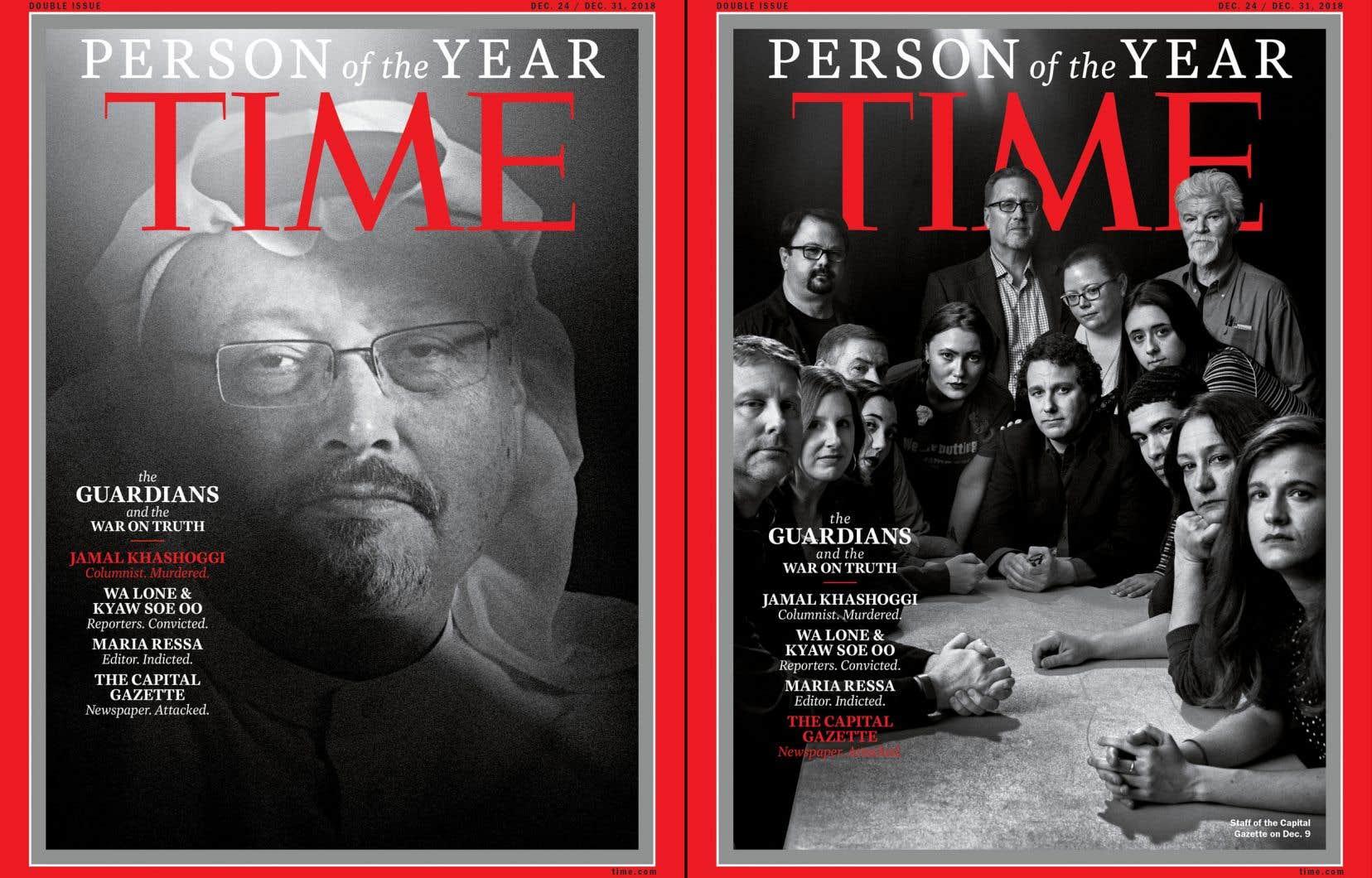 «Time» a choisi de publier quatre unes différentes de son magazine cette semaine pour mettre en avant les quatre journalistes ou équipes de journalistes, placés en tête de son classement.