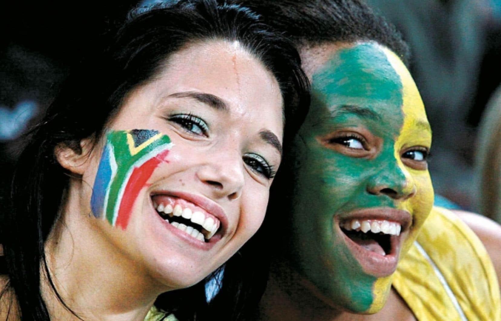 Deux fans de l'équipe nationale sud-africaine, Bafana Bafana